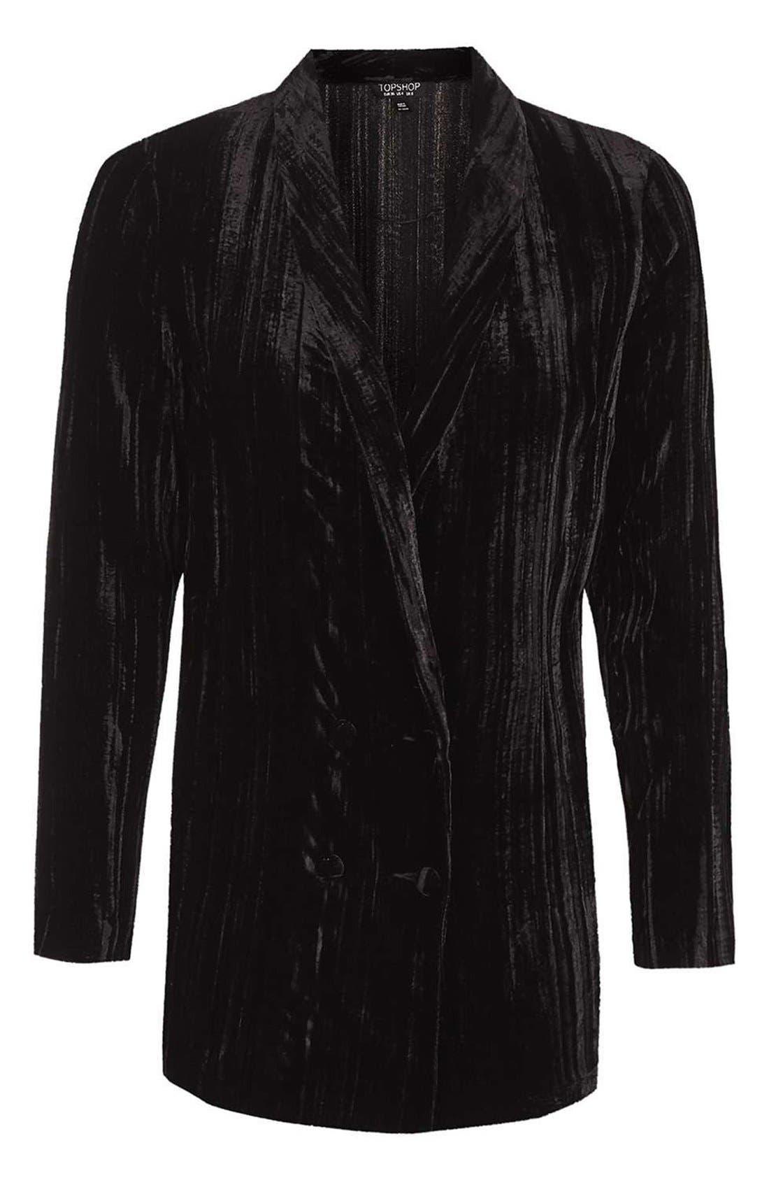 Alternate Image 4  - Topshop Pleat Velvet Blazer