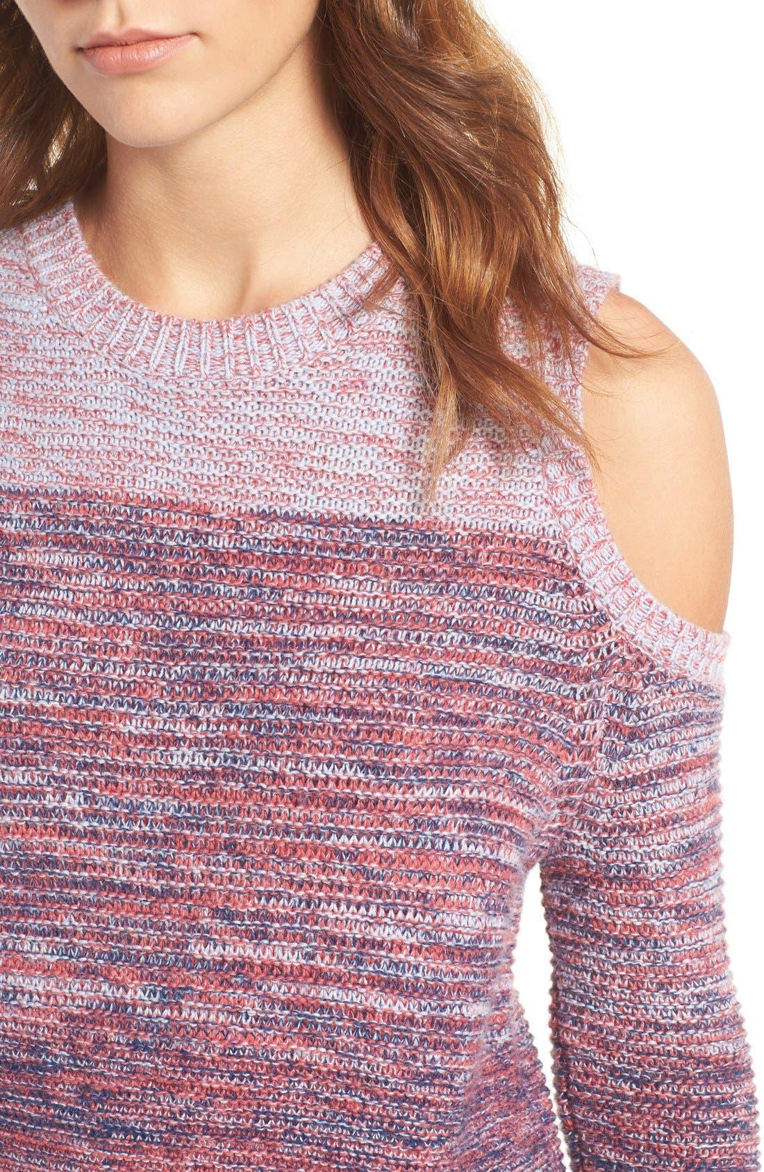 Alternate Image 4  - Rebecca Minkoff Page Stripe Cold Shoulder Sweater