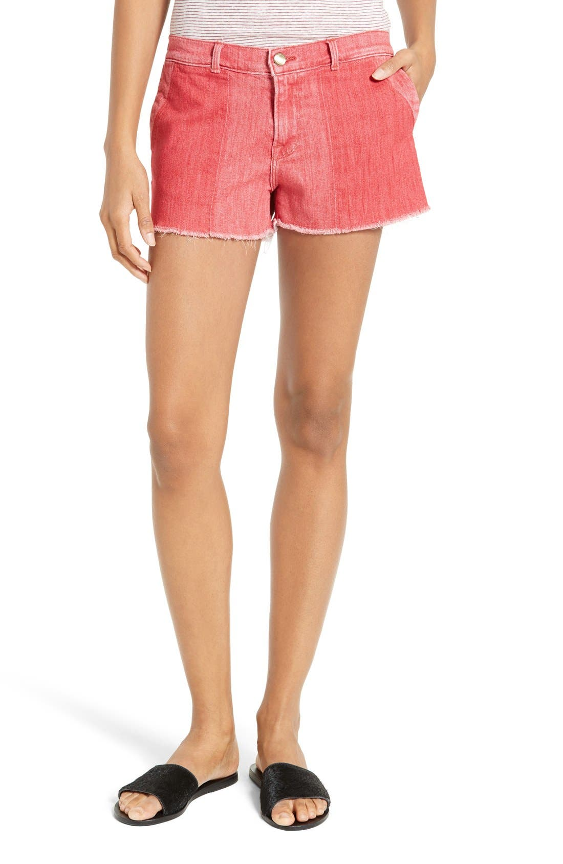FRAME Le Cutoff Color Shadow Pocket Denim Shorts (Crimson Shadow)