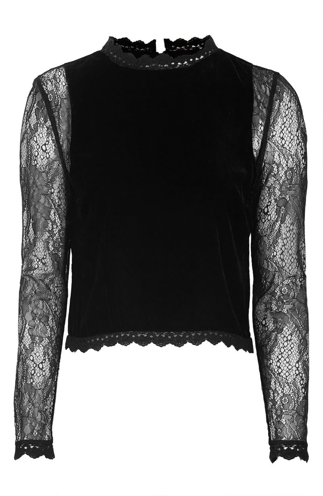 Alternate Image 3  - Topshop Lace Sleeve Velvet Top