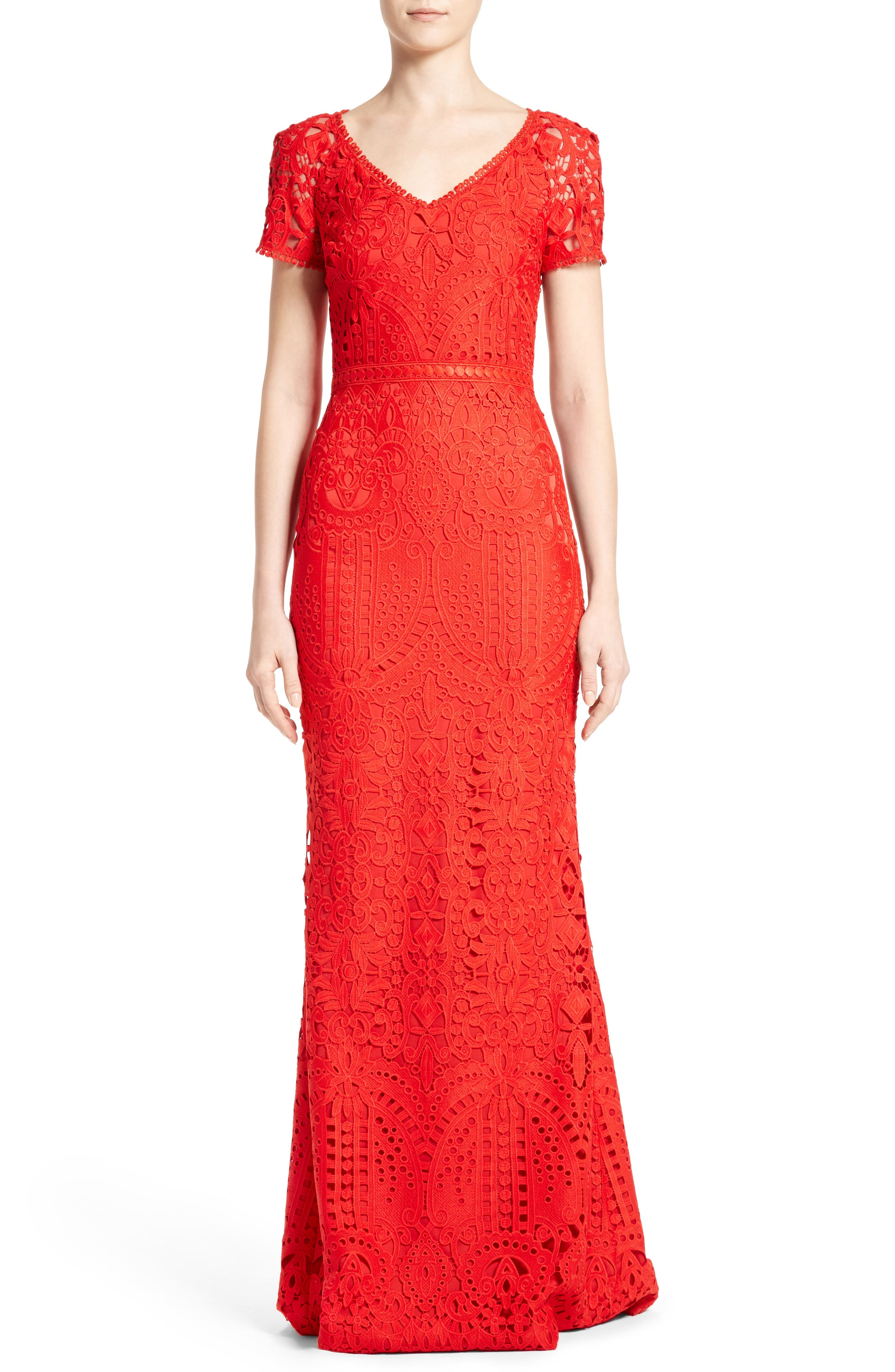 ST. JOHN COLLECTION Embroidered Lace Gown