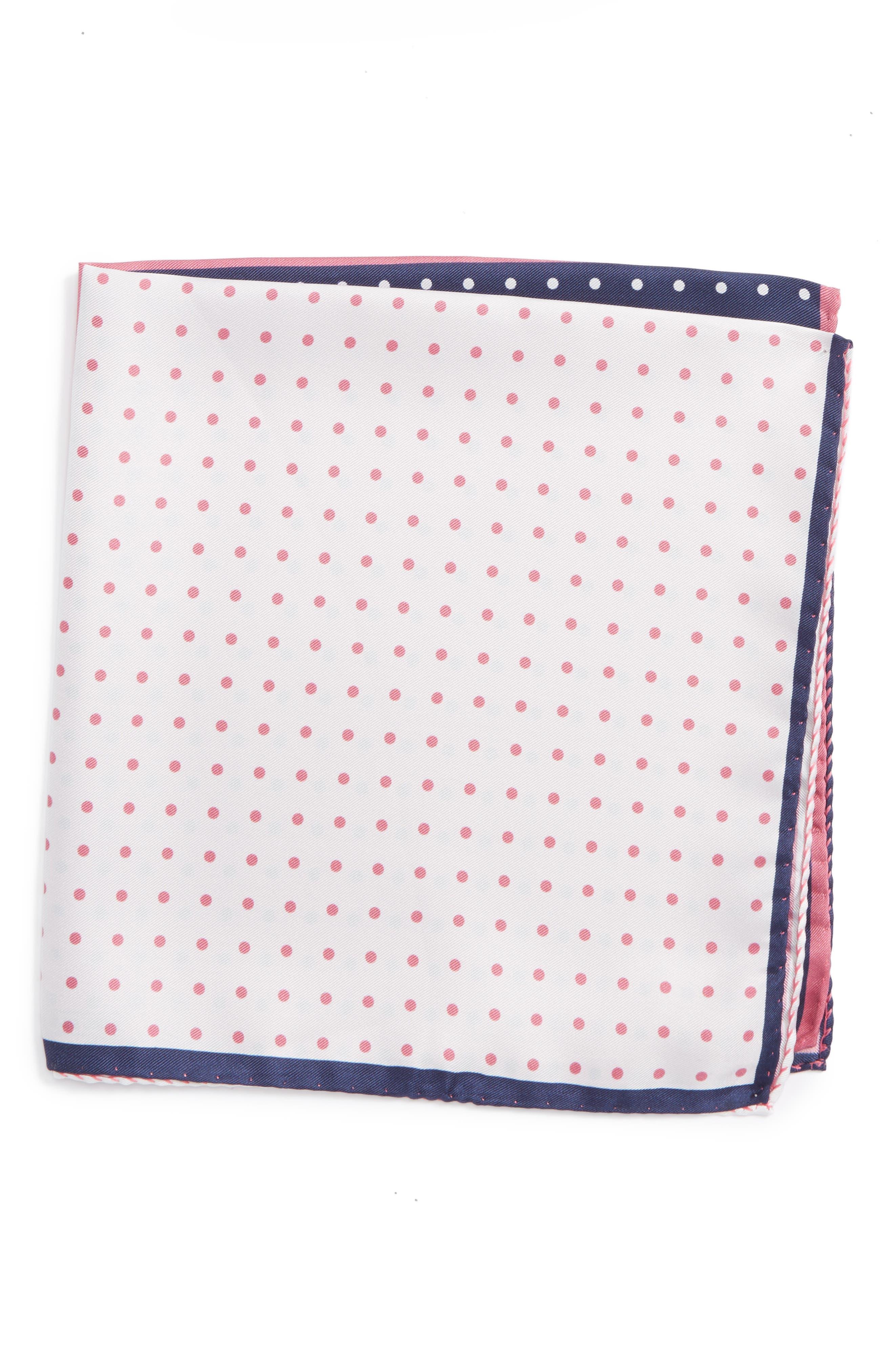 Nordstrom Men's Shop Four Panel Dot Silk Pocket Square