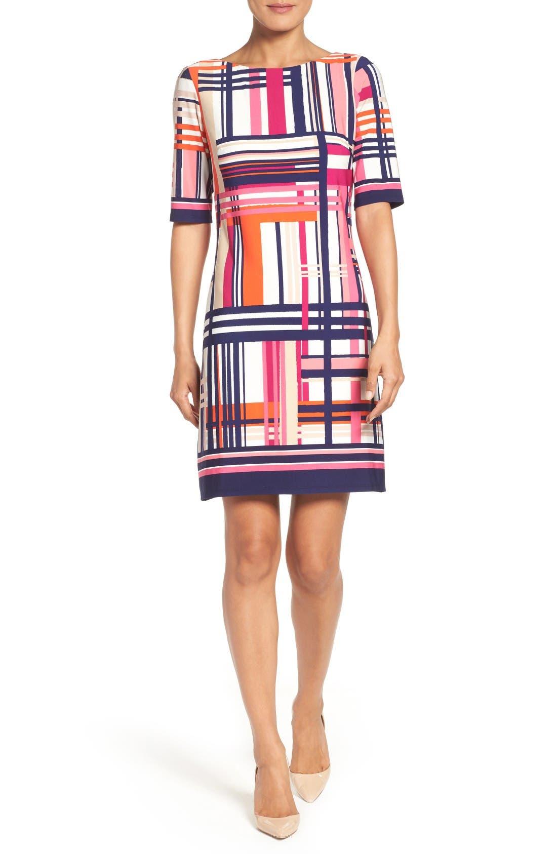 Alternate Image 4  - Eliza J Print Jersey Elbow Sleeve Shift Dress (Regular & Petite)