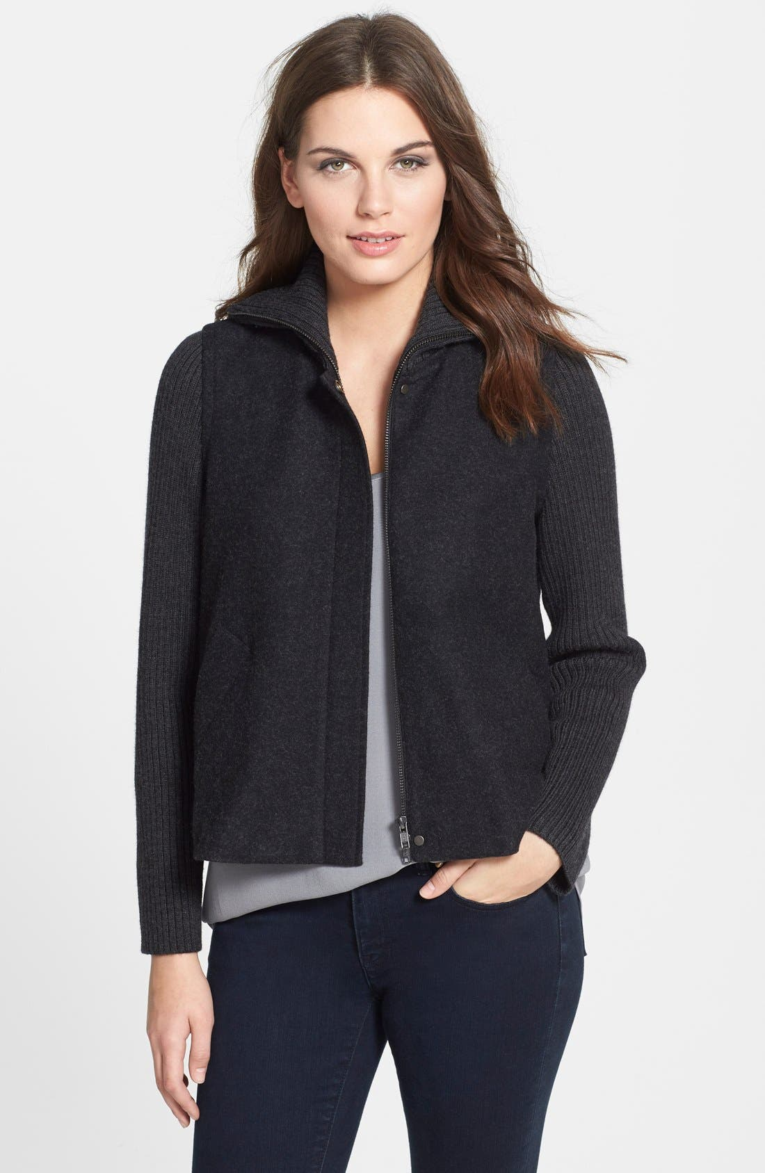Alternate Image 1 Selected - Eileen Fisher Wool Blend Jacket with Ribbed Contrast (Plus Size)