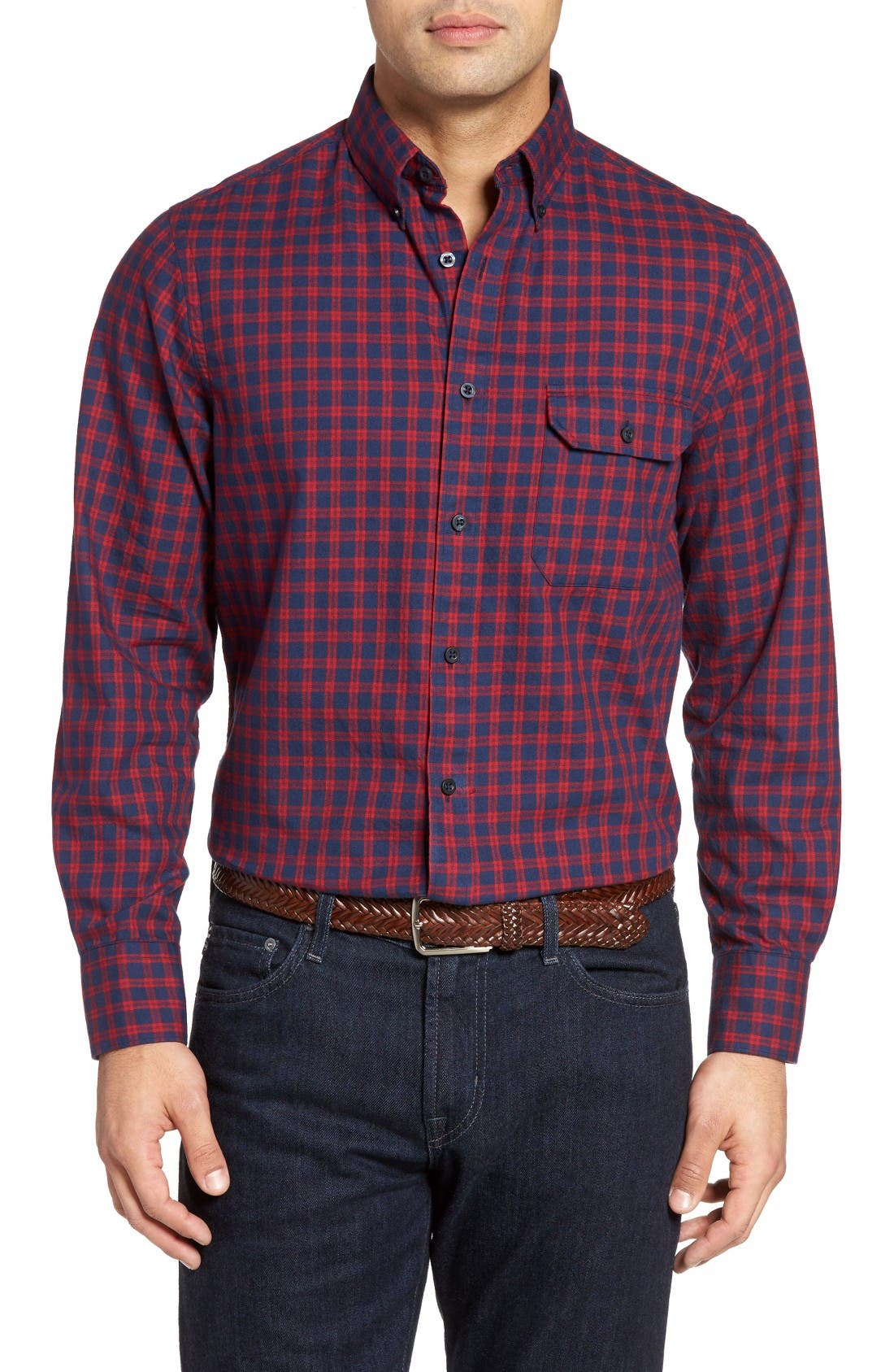Main Image - Nordstrom Men's Shop Classic Regular Fit Plaid Flannel Sport Shirt (Regular & Tall)