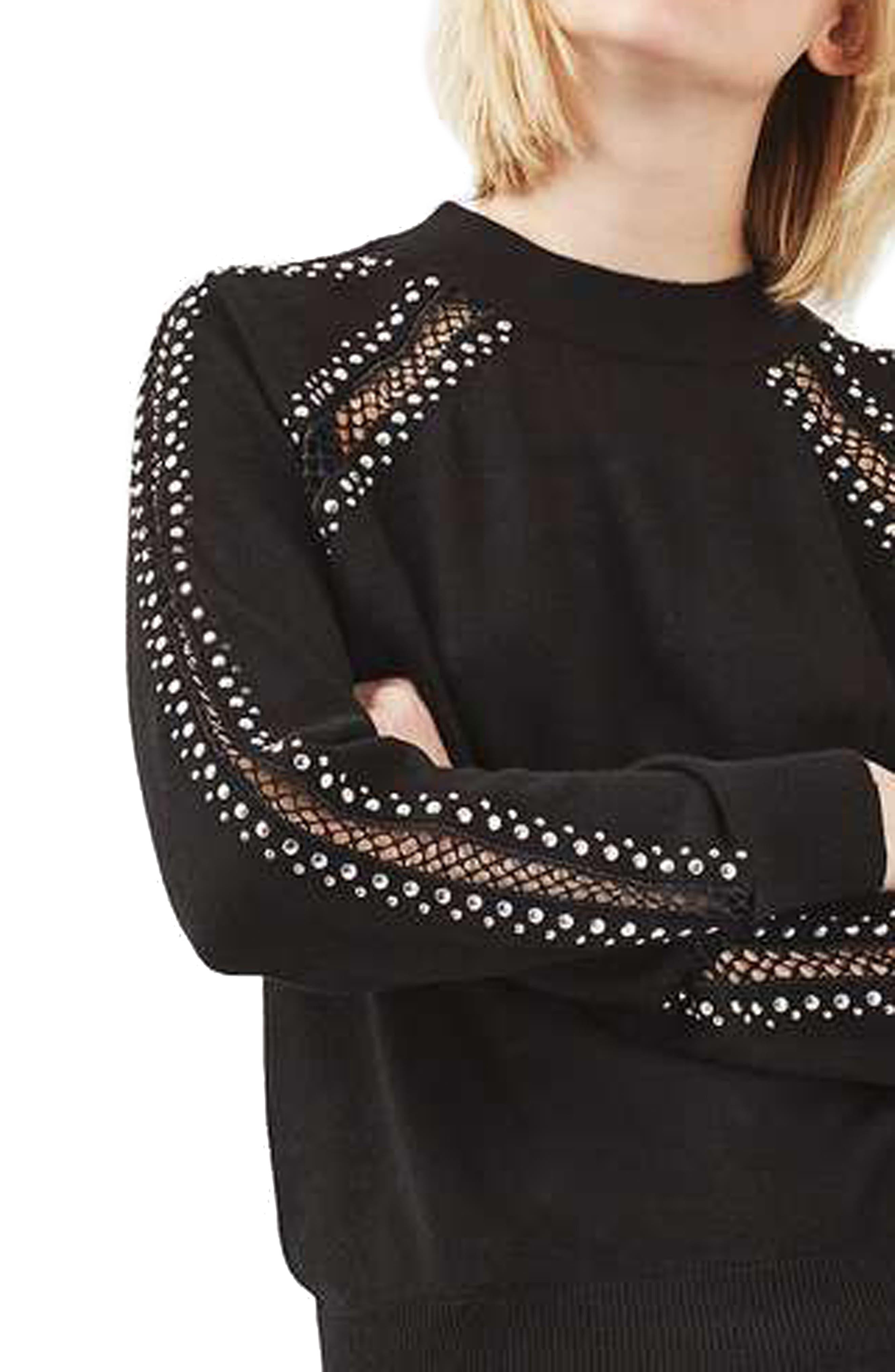 Alternate Image 3  - Topshop Stud Lattice Sweater
