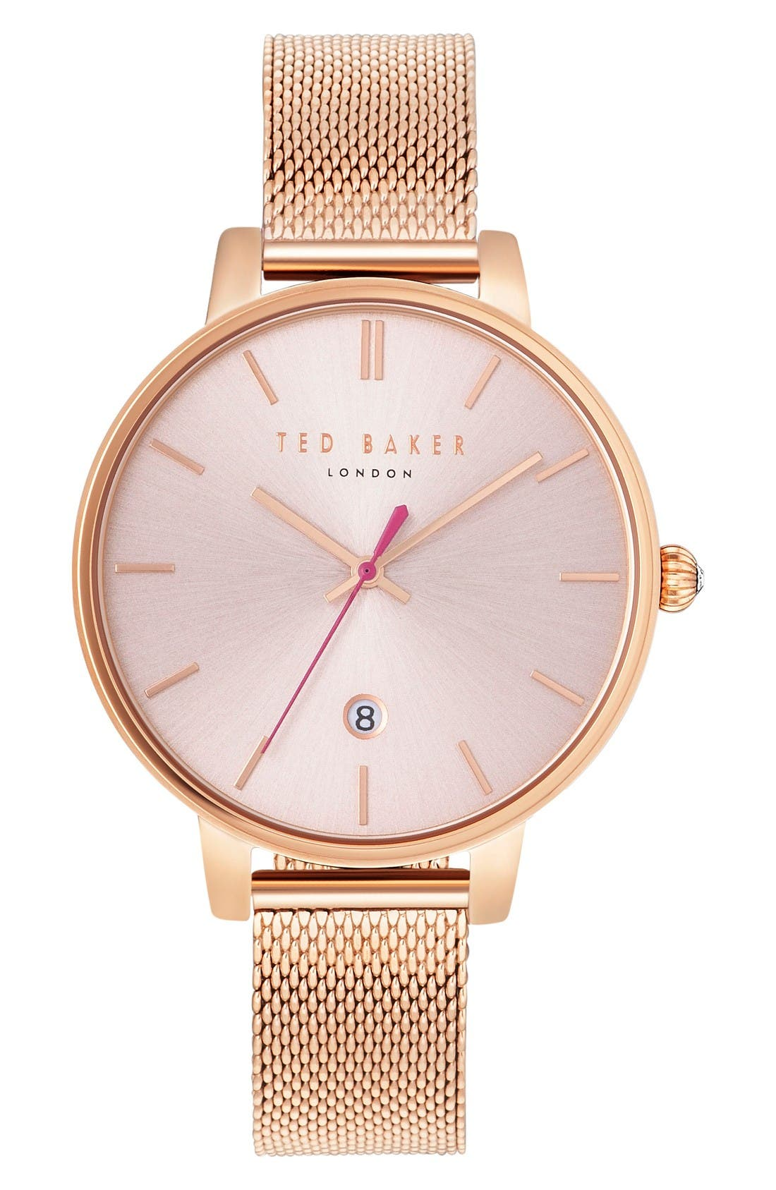 Alternate Image 1 Selected - Ted Baker London Kate Round Mesh Strap Watch, 38mm