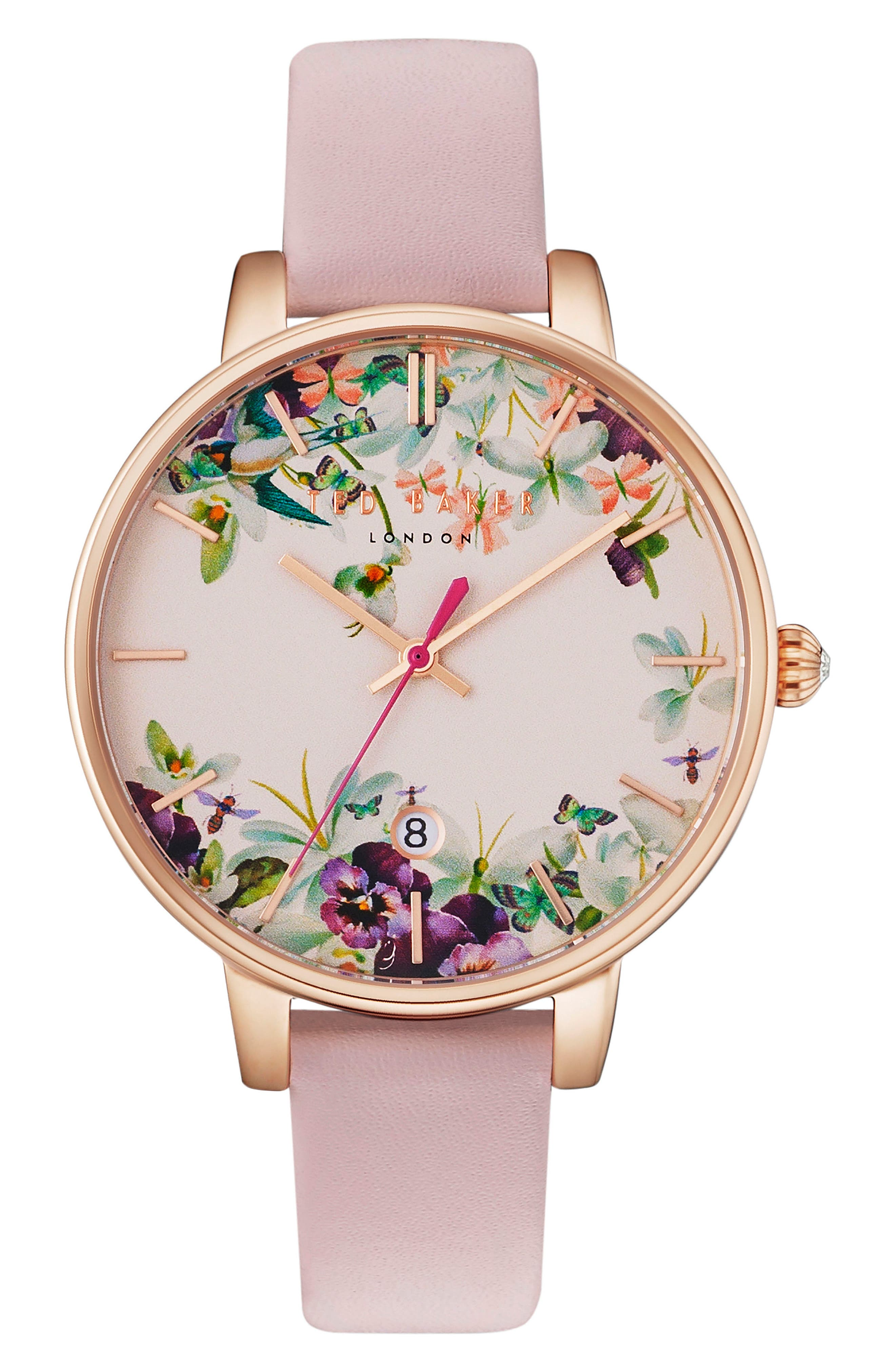 Main Image - Ted Baker London Round Leather Strap Watch, 38mm