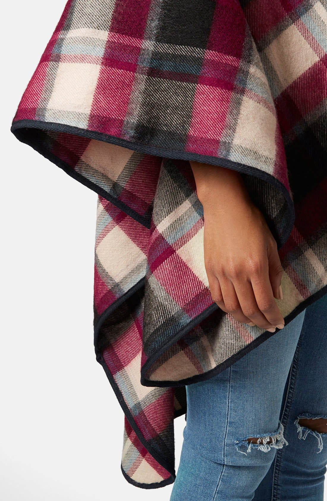 Alternate Image 5  - Topshop Check Print Cape