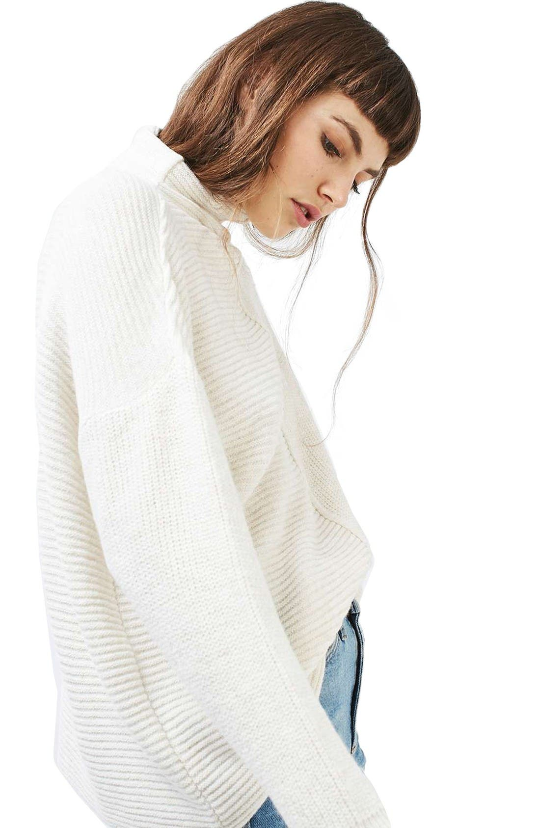 Alternate Image 4  - Topshop Mixed Knit Sweater
