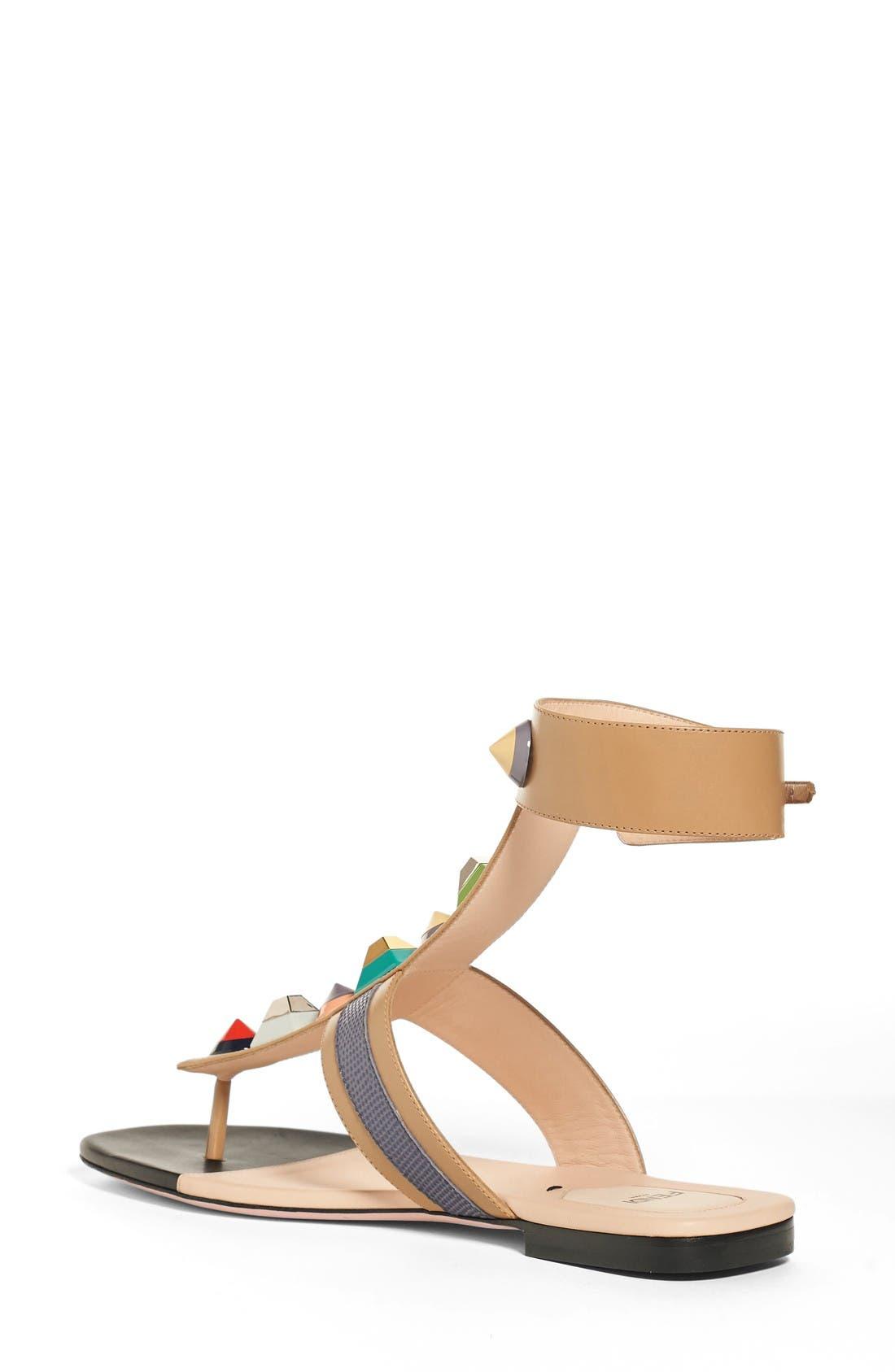 Alternate Image 2  - Fendi 'Rainbow' Studded Colorblock Gladiator Sandal (Women)
