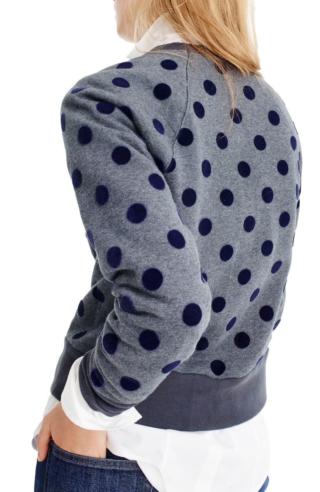 Alternate Image 2  - J.Crew Textured Polka Dot Raglan Sweatshirt
