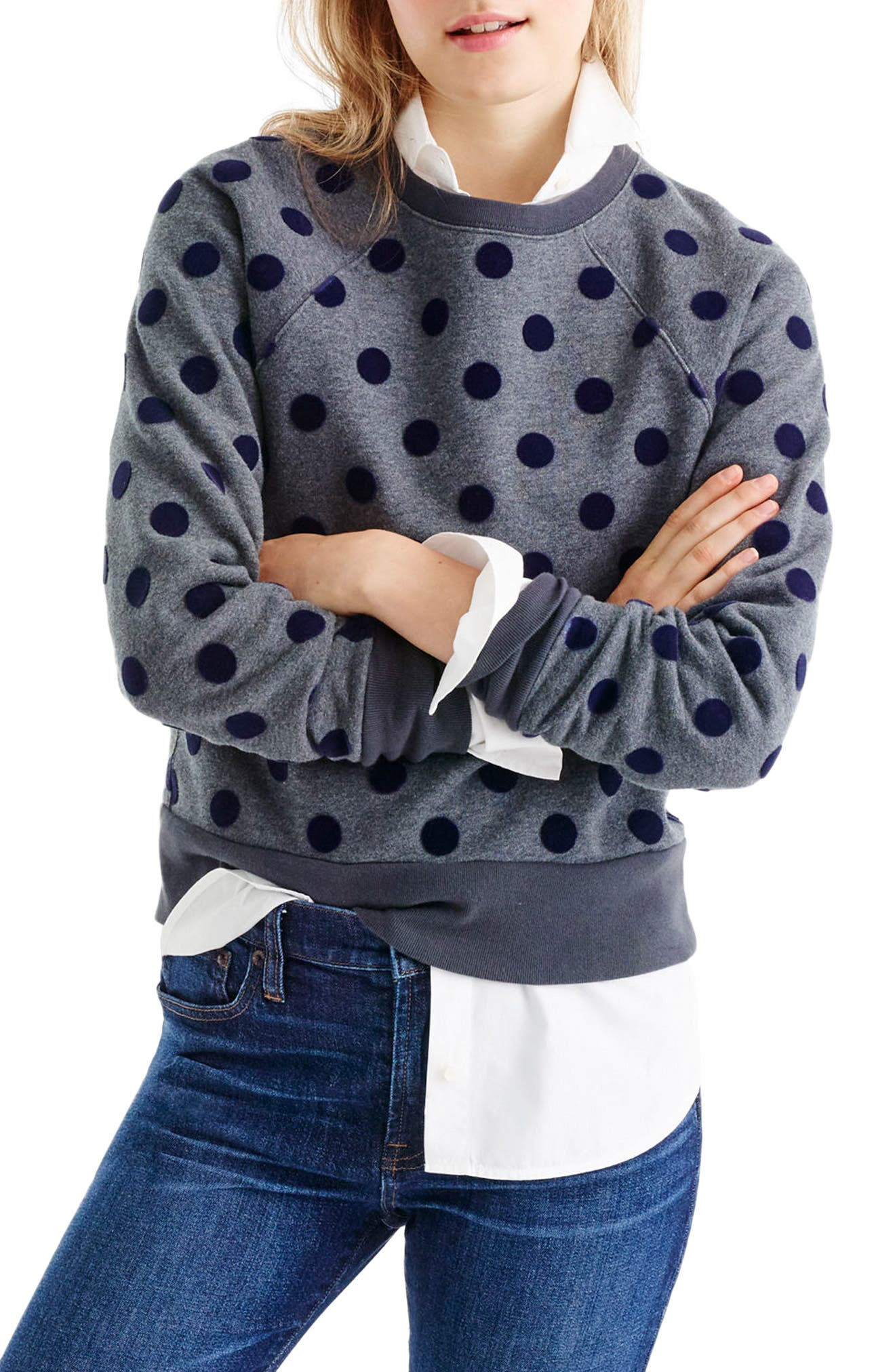 Alternate Image 1 Selected - J.Crew Textured Polka Dot Raglan Sweatshirt
