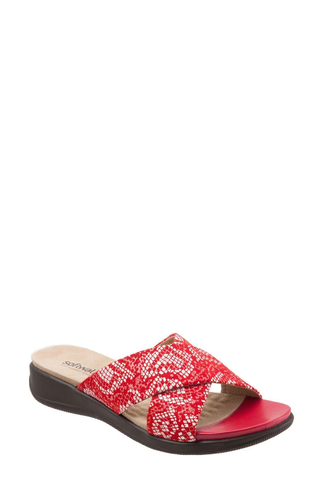 SoftWalk® 'Tillman' Leather Cross Strap Slide Sandal (Women)