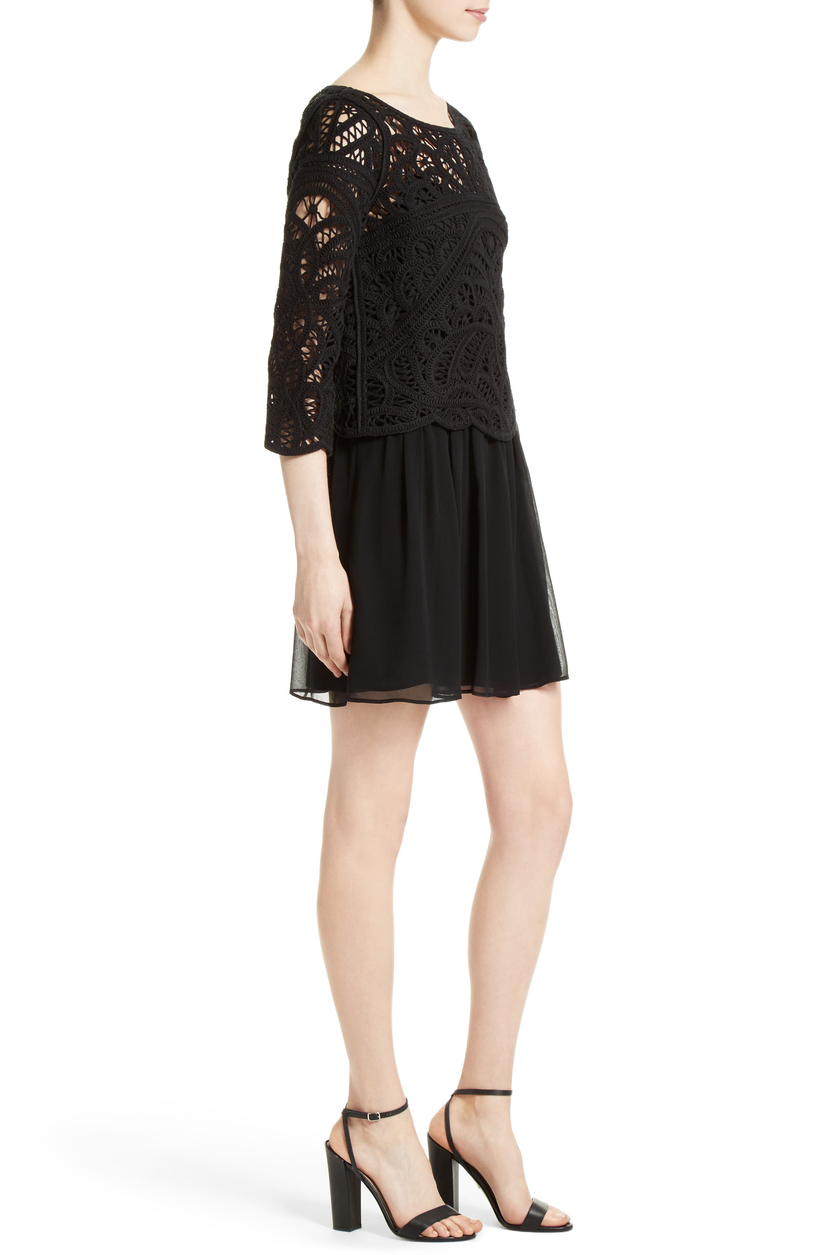 Alternate Image 3  - Joie Jordie Crochet Overlay Chiffon Dress