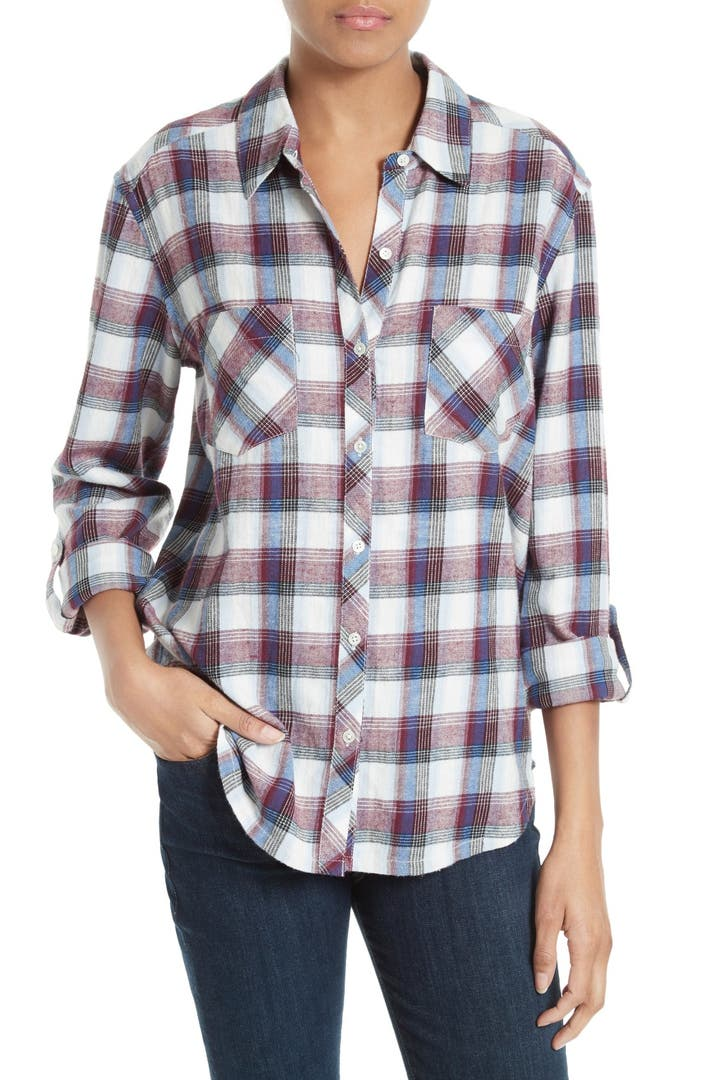 Soft joie lilya plaid cotton shirt nordstrom for Soft joie plaid shirt