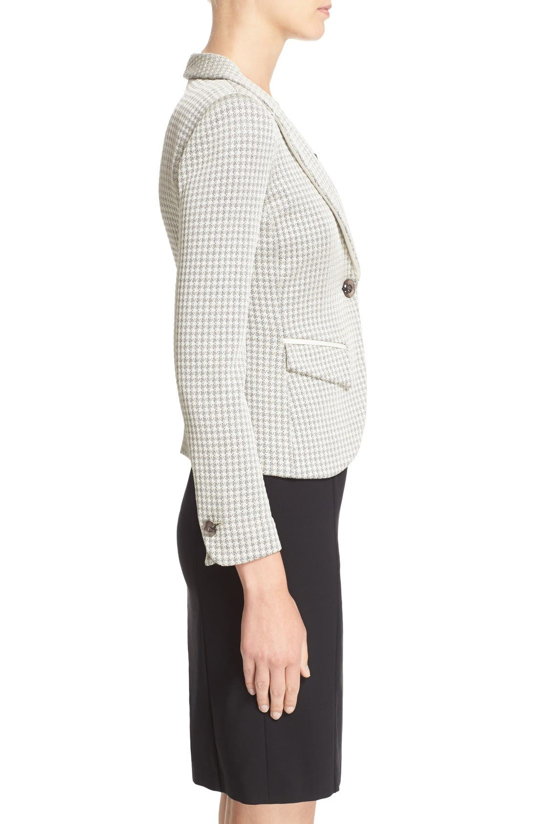 Alternate Image 5  - Armani Collezioni Houndstooth Jersey One-Button Blazer