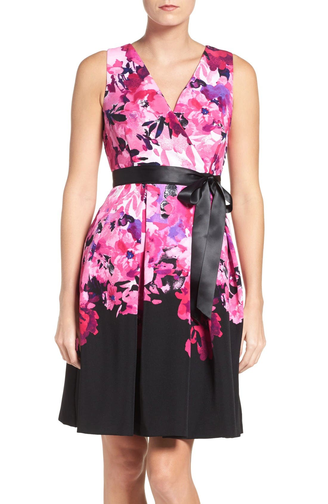 CHETTA B Floral Fit & Flare Dress