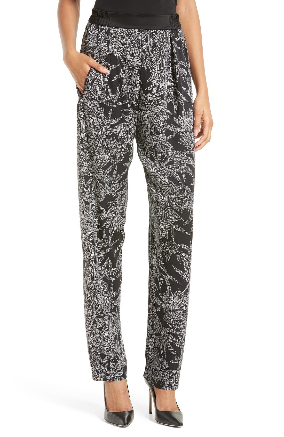 Diane von Furstenberg Print Stretch Silk Pants