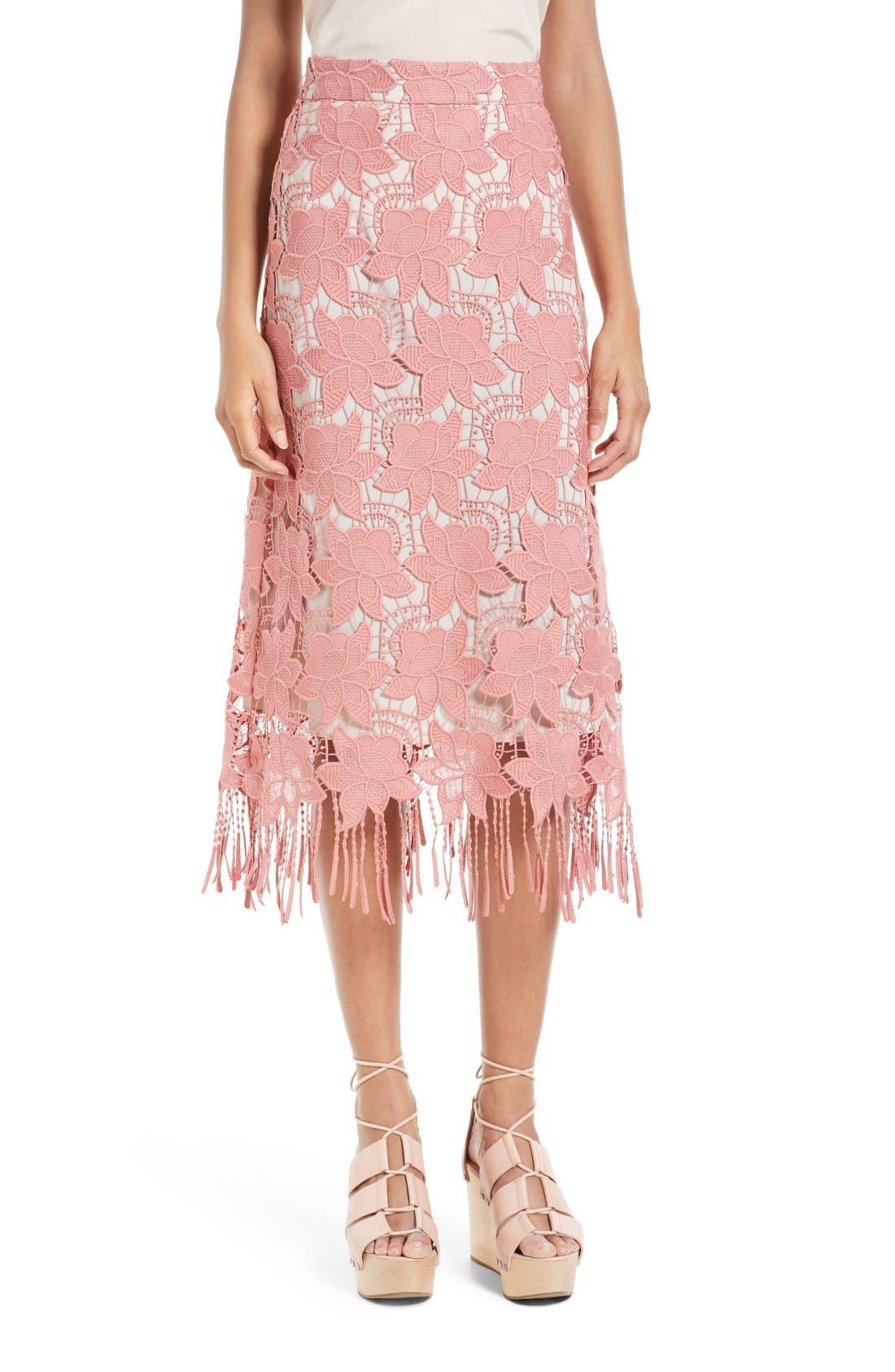 Main Image - Alice + Olivia Strand Lace Pencil Skirt