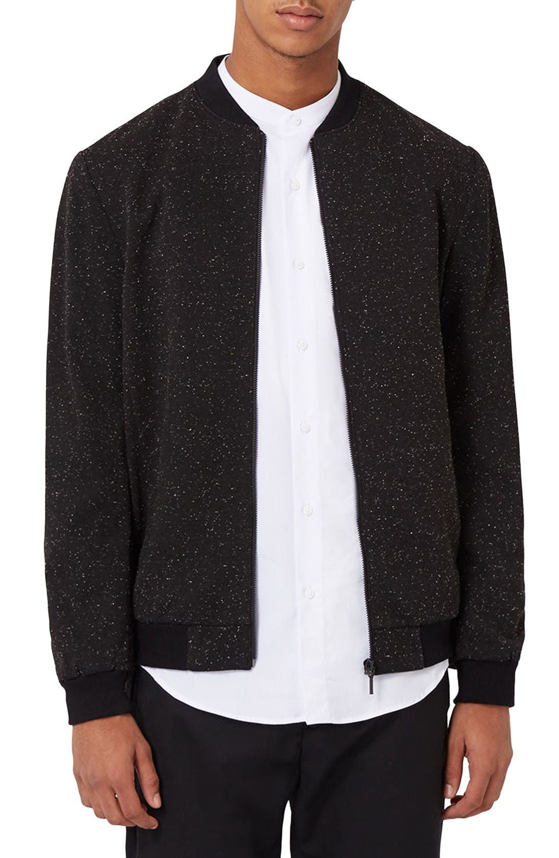Alternate Image 1 Selected - Topman Nep Flecked Bomber Jacket