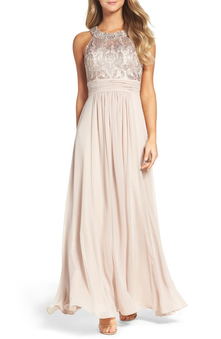 Eliza j lace bodice gown regular petite nordstrom for Petite lace wedding dresses