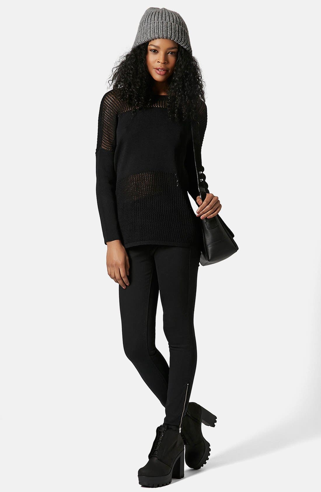 Alternate Image 4  - Topshop Moto 'Jamie' Ankle Zip Skinny Jeans (Black) (Regular & Short)