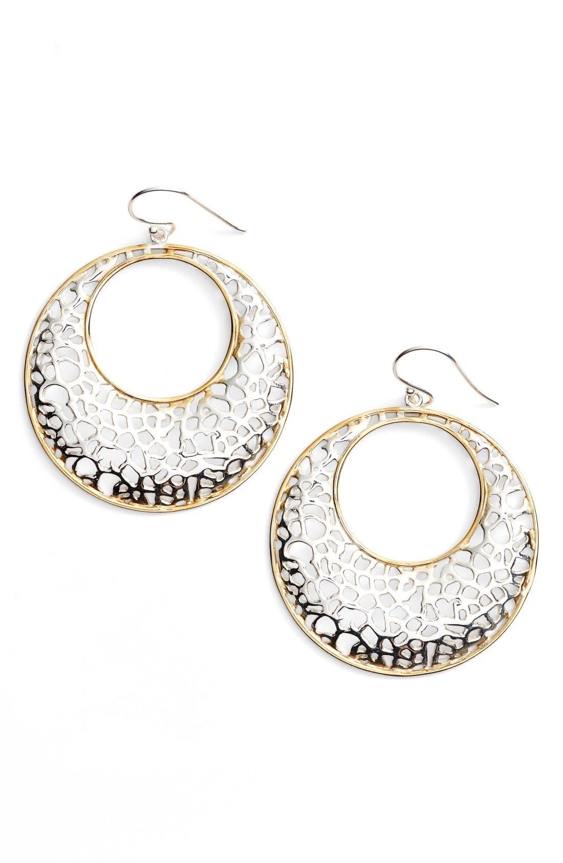 Argento Vivo Two Tone Circle Lace Earrings