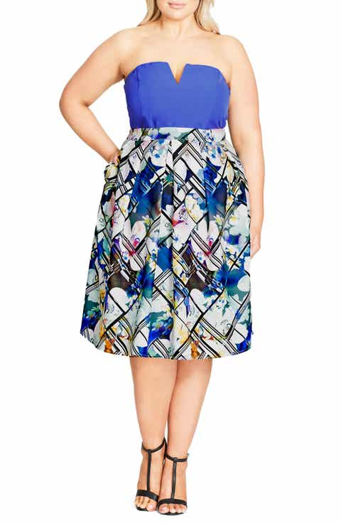 City Chic Orchid Floral Skirt (Plus Size)