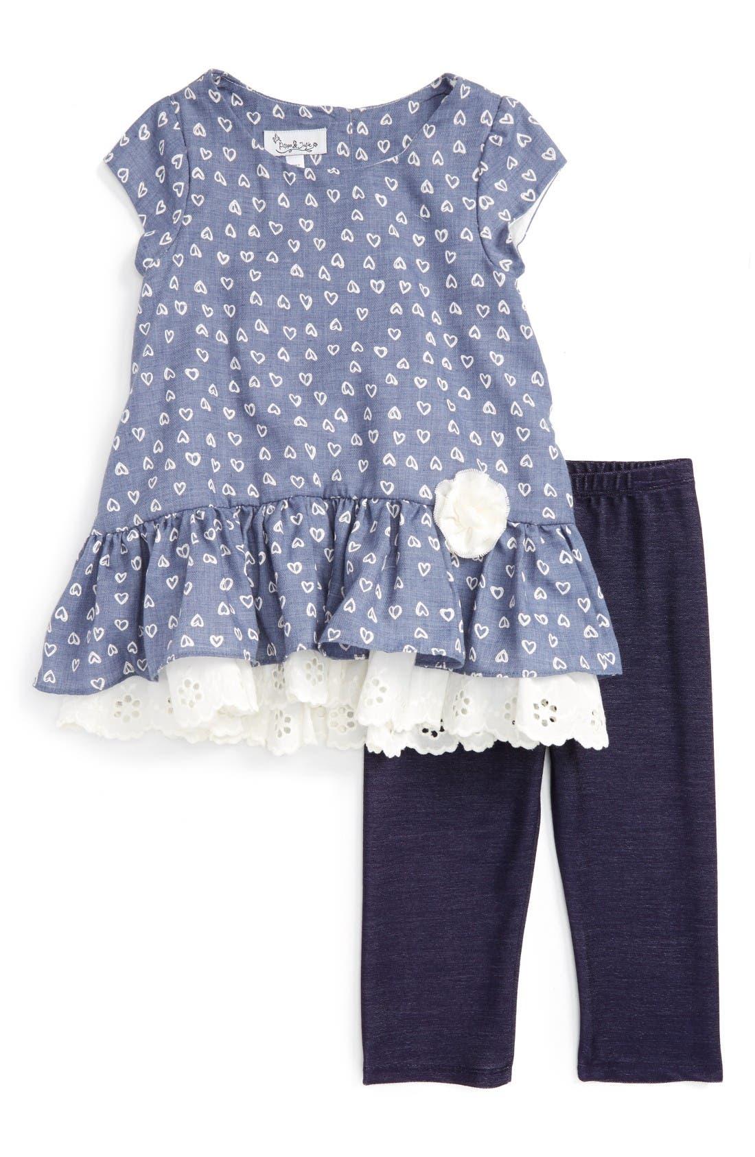 Alternate Image 1 Selected - Pippa & Julie Peplum Tunic & Leggings Set (Toddler Girls & Little Girls)