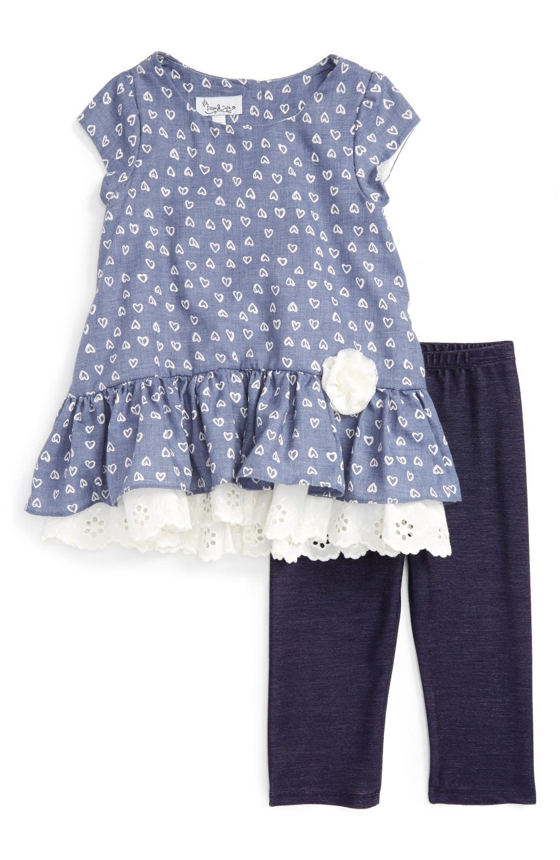 Main Image - Pippa & Julie Peplum Tunic & Leggings Set (Toddler Girls & Little Girls)