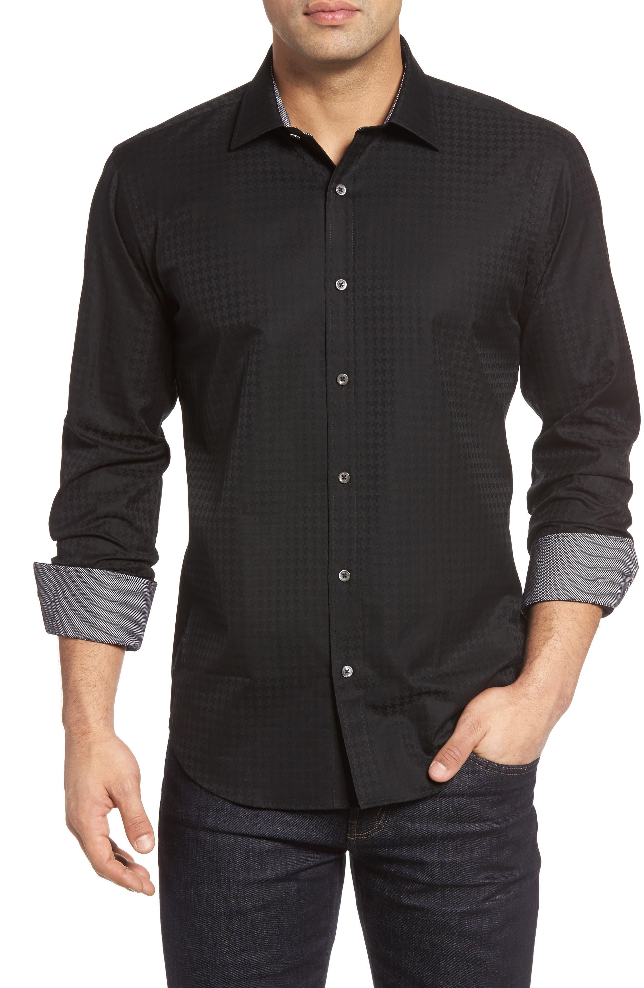 BUGATCHI Shaped Fit Houndstooth Sport Shirt