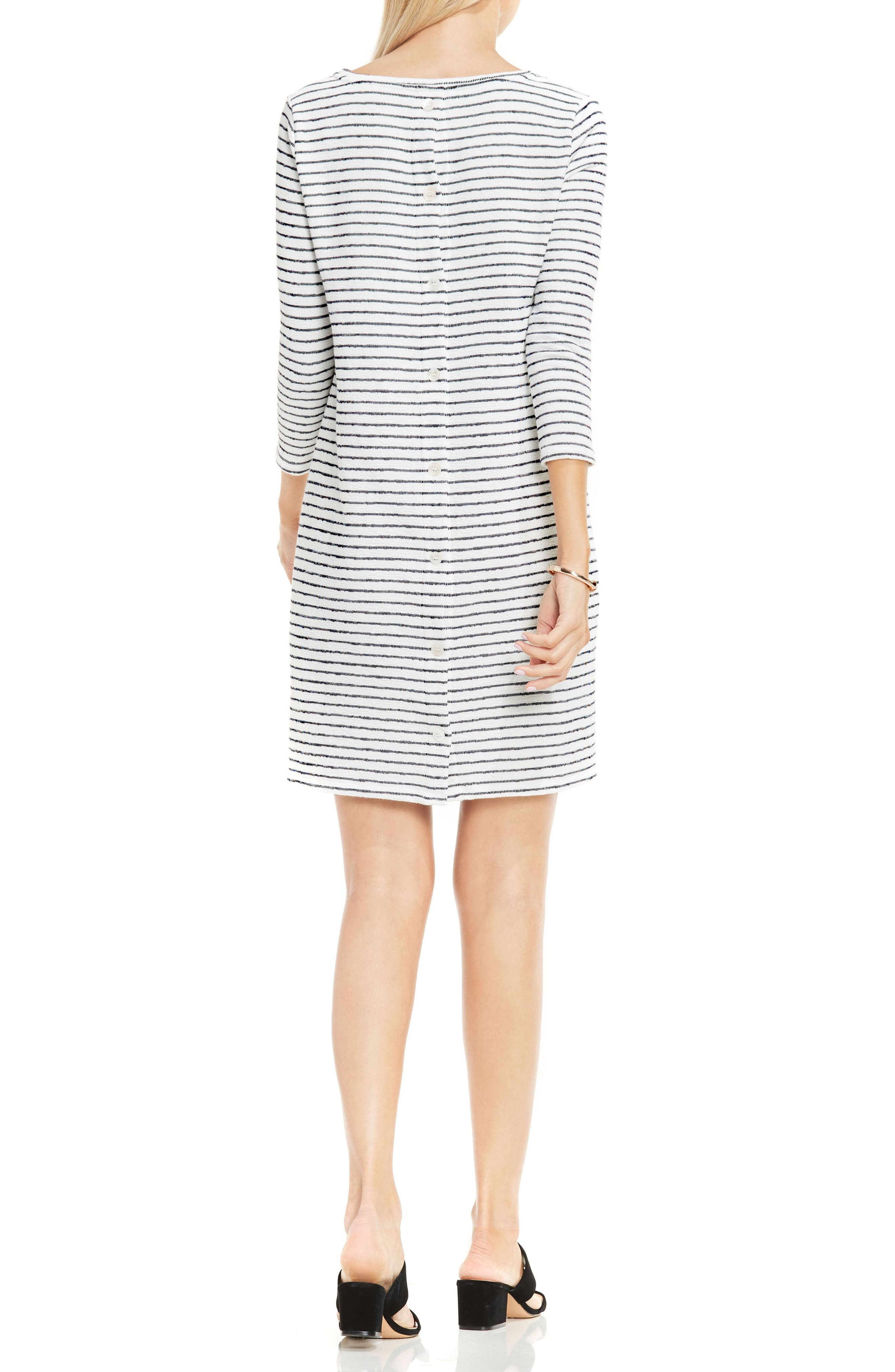 Alternate Image 2  - Two by Vince Camuto Nautical Stripe Button Back Terry Dress