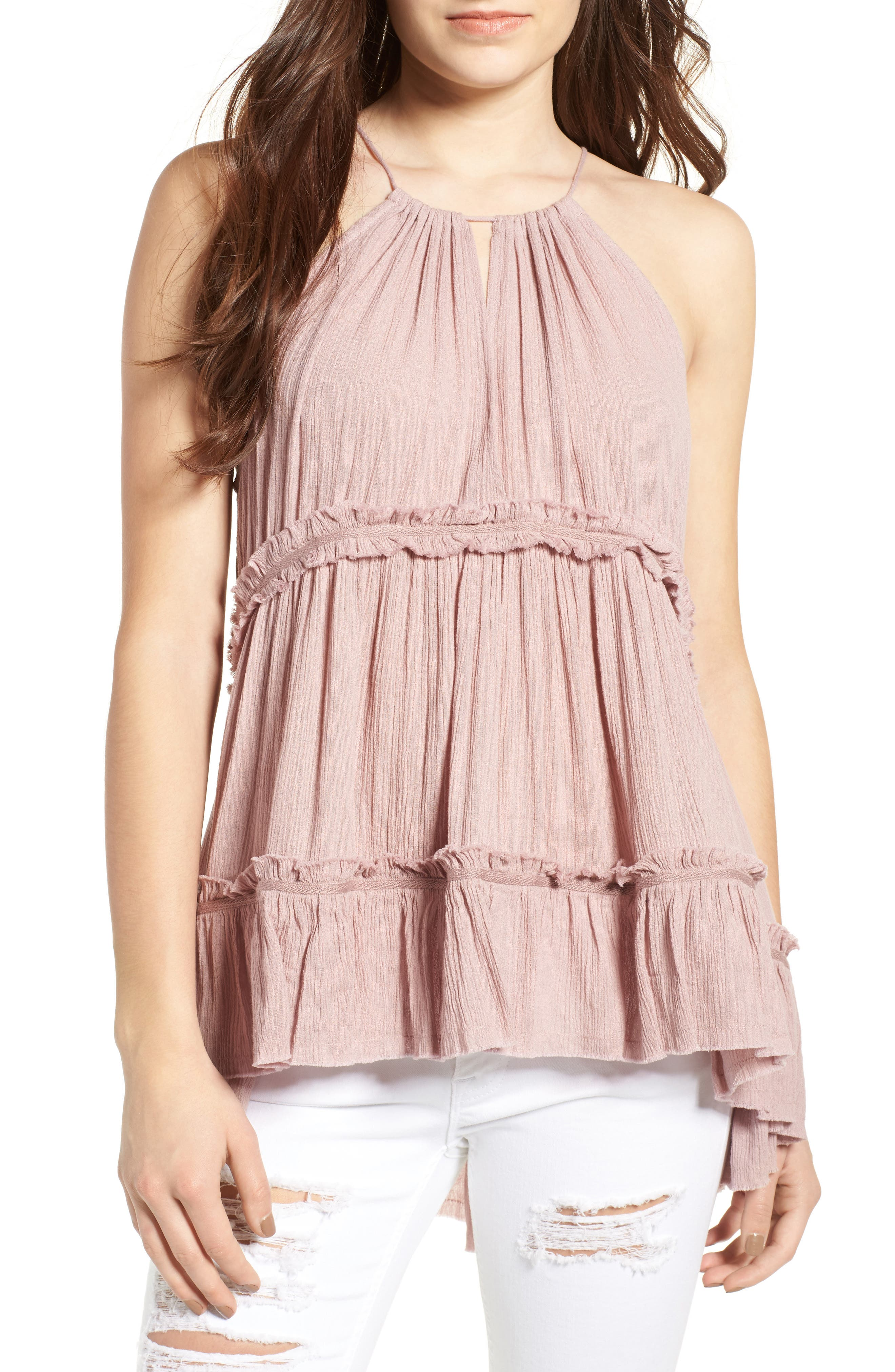 Alternate Image 1 Selected - Sun & Shadow Tiered Gauze Tank