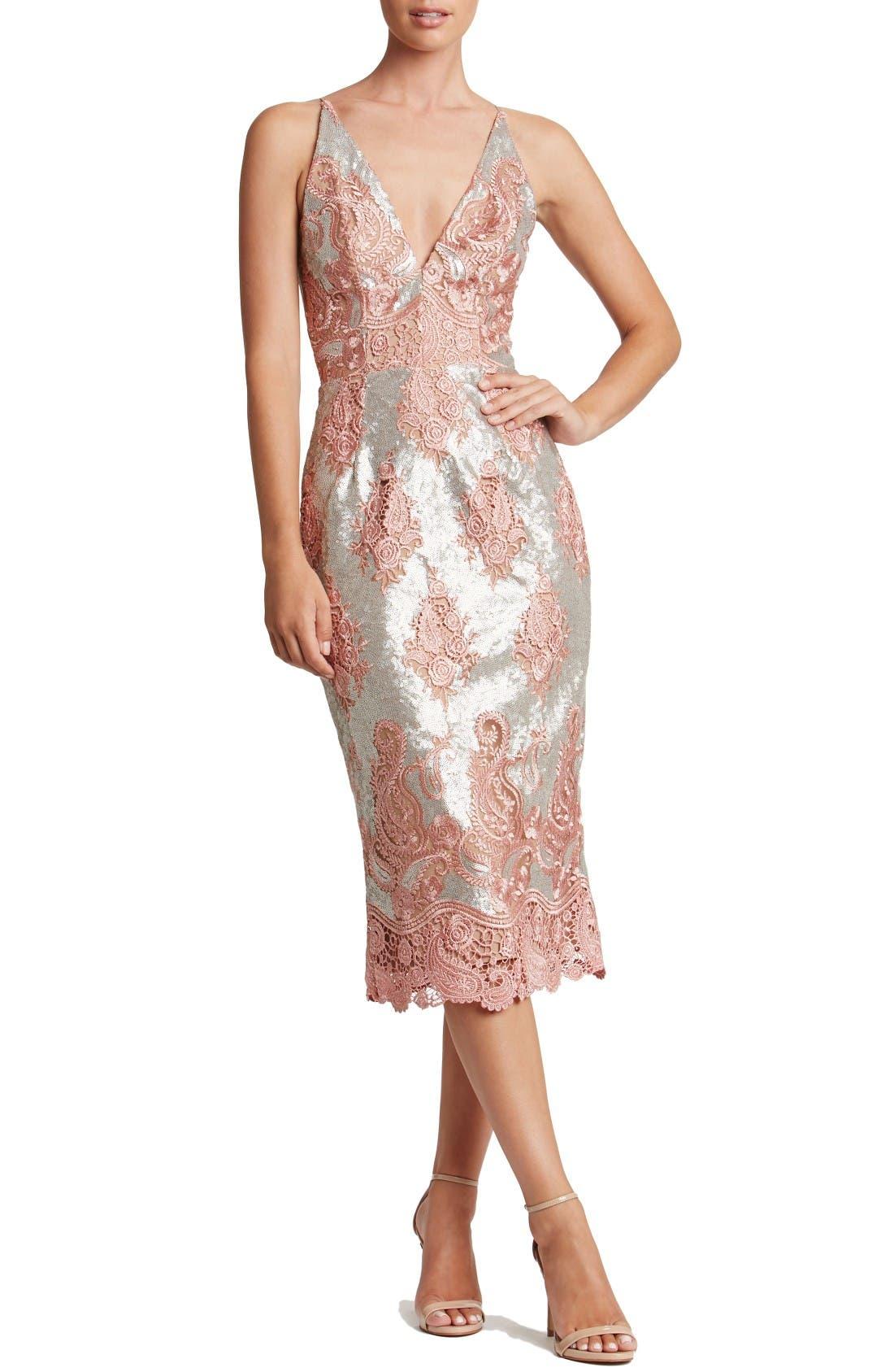 Dress the Population Angela Sequin & Lace Midi Dress