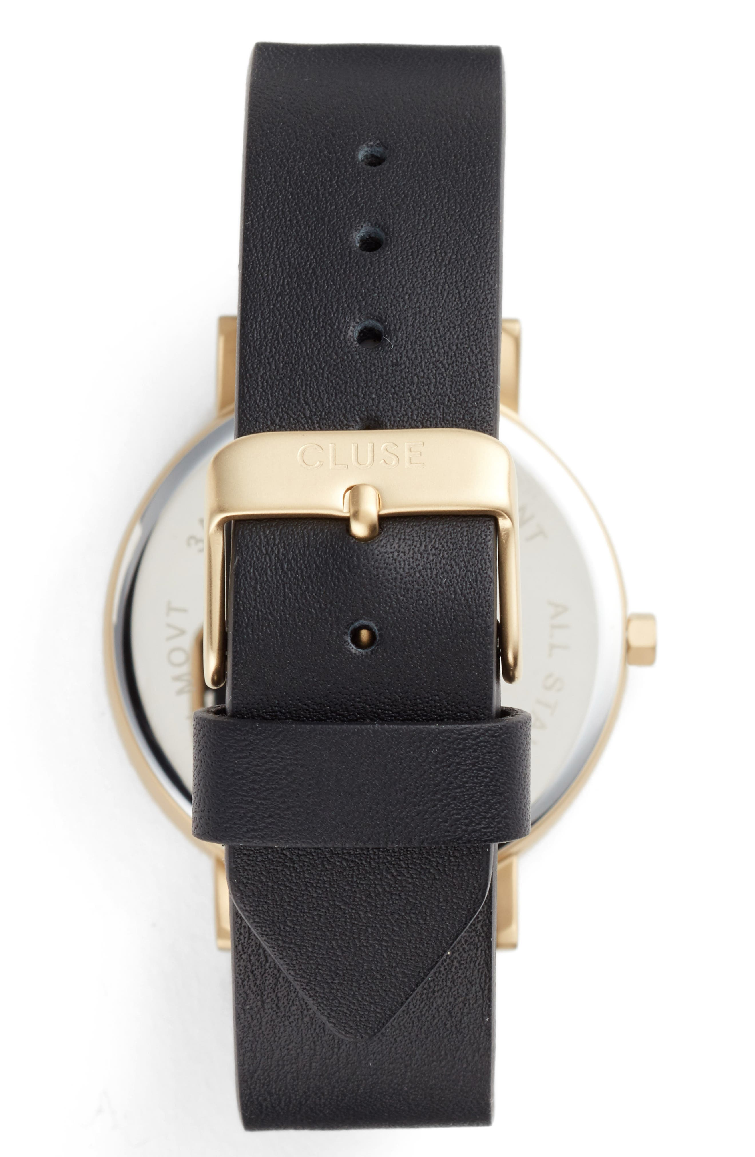 Alternate Image 2  - CLUSE La Roche Marble Leather Strap Watch, 38mm