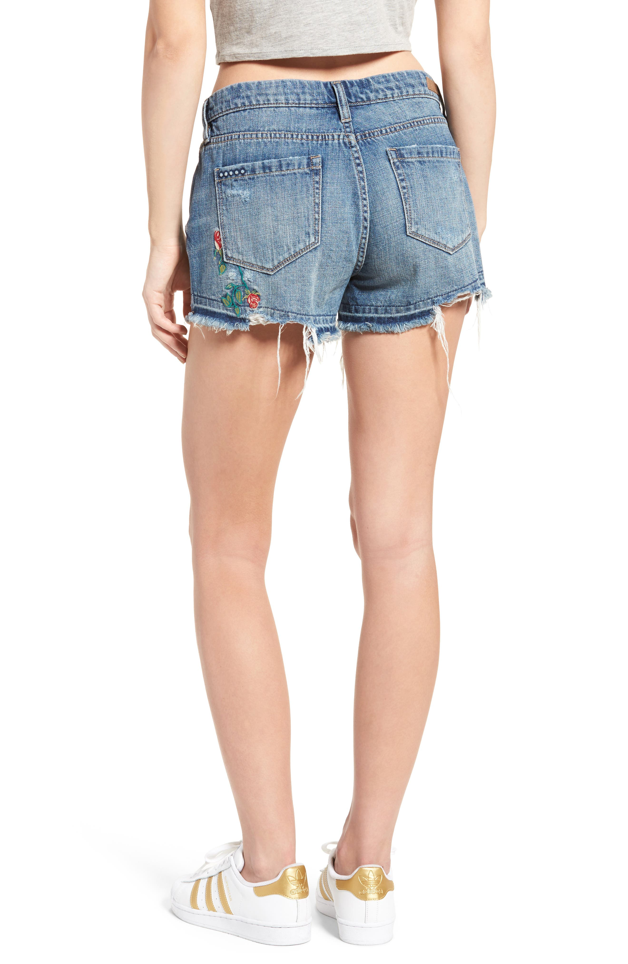 Alternate Image 3  - BLANKNYC Embroidered Denim Shorts (Whild Child)