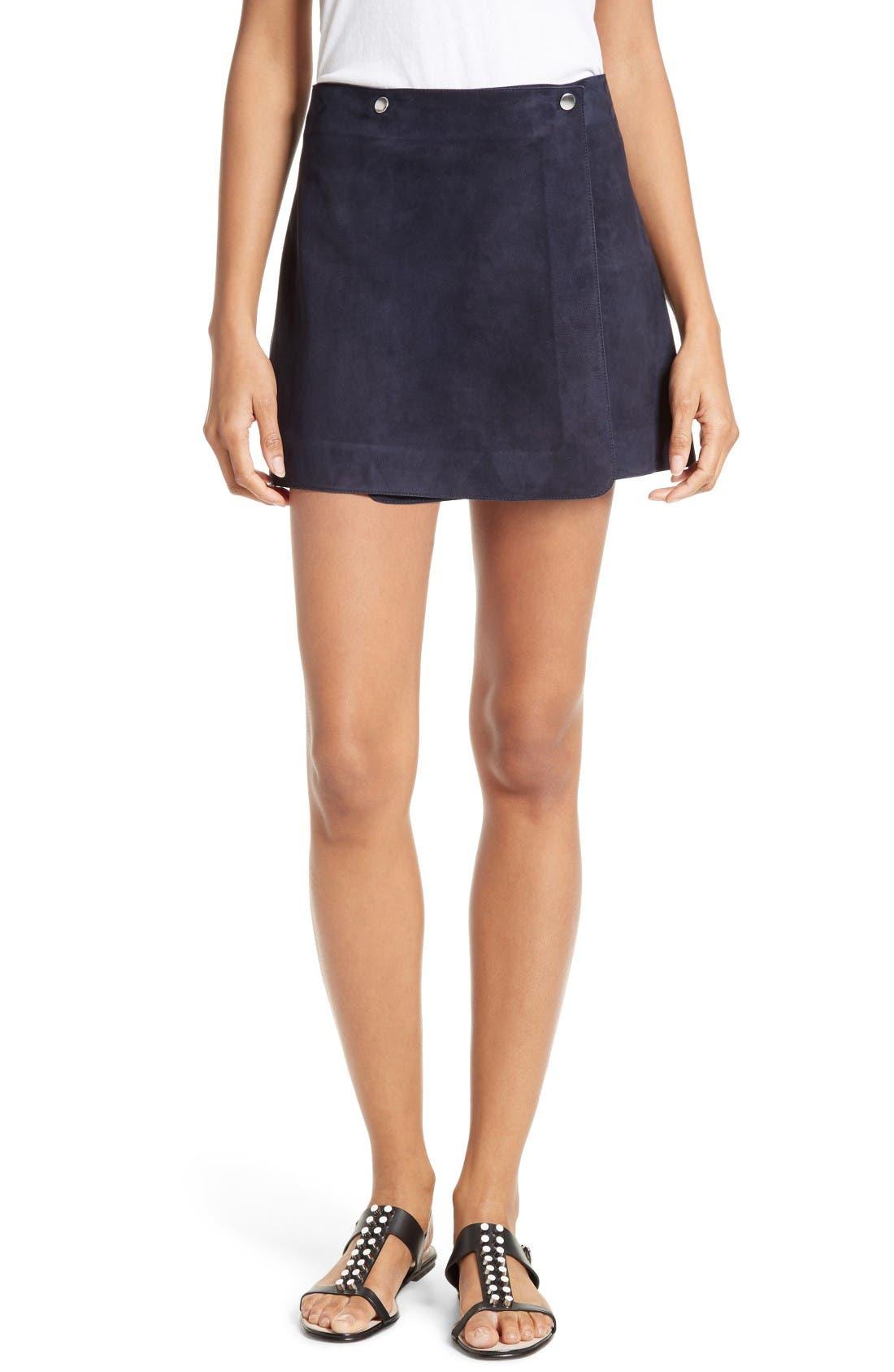 THEORY Murta Wilmore Suede Miniskirt