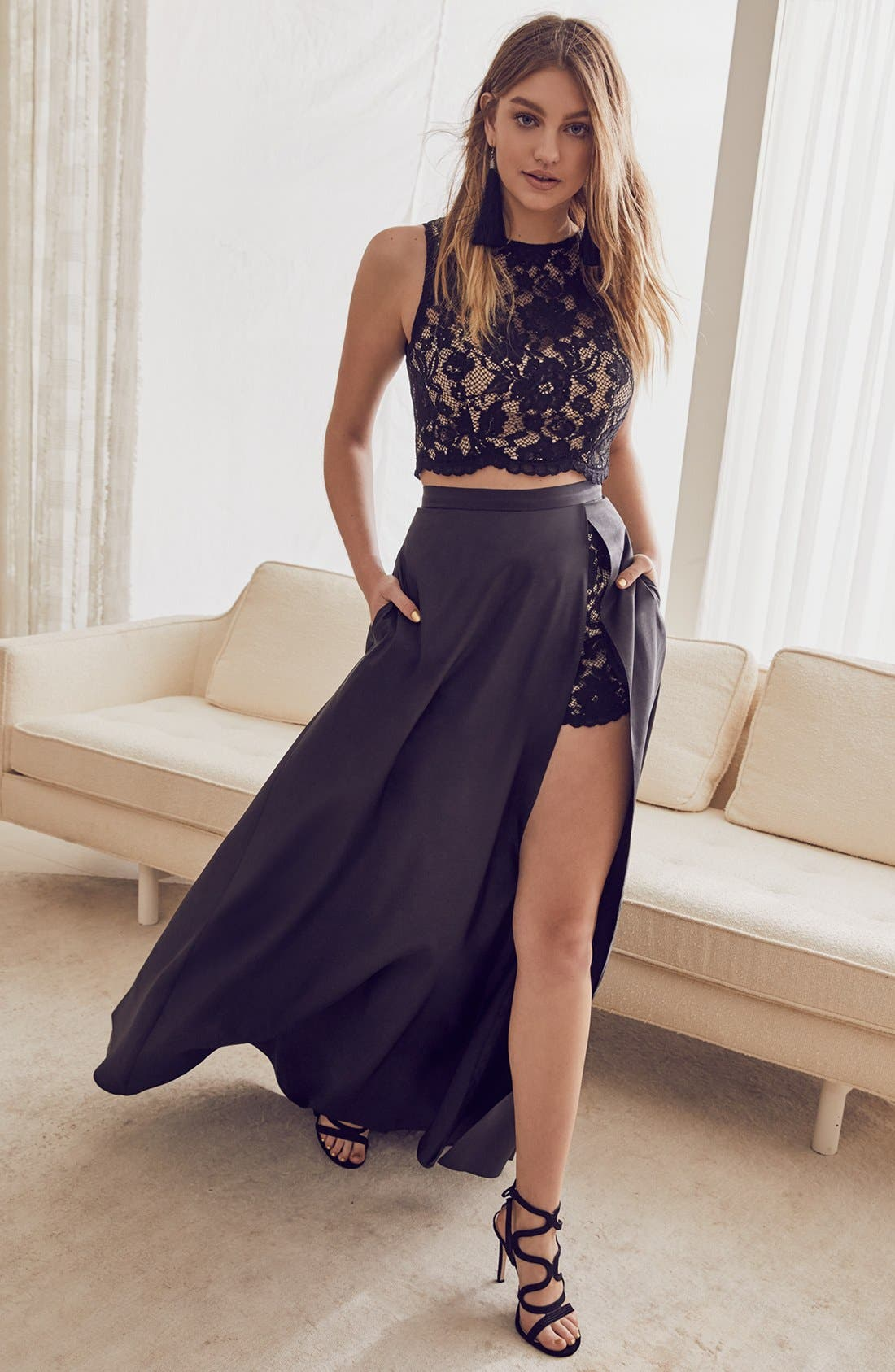 Alternate Image 2  - Xscape Lace & Taffeta Two-Piece Gown