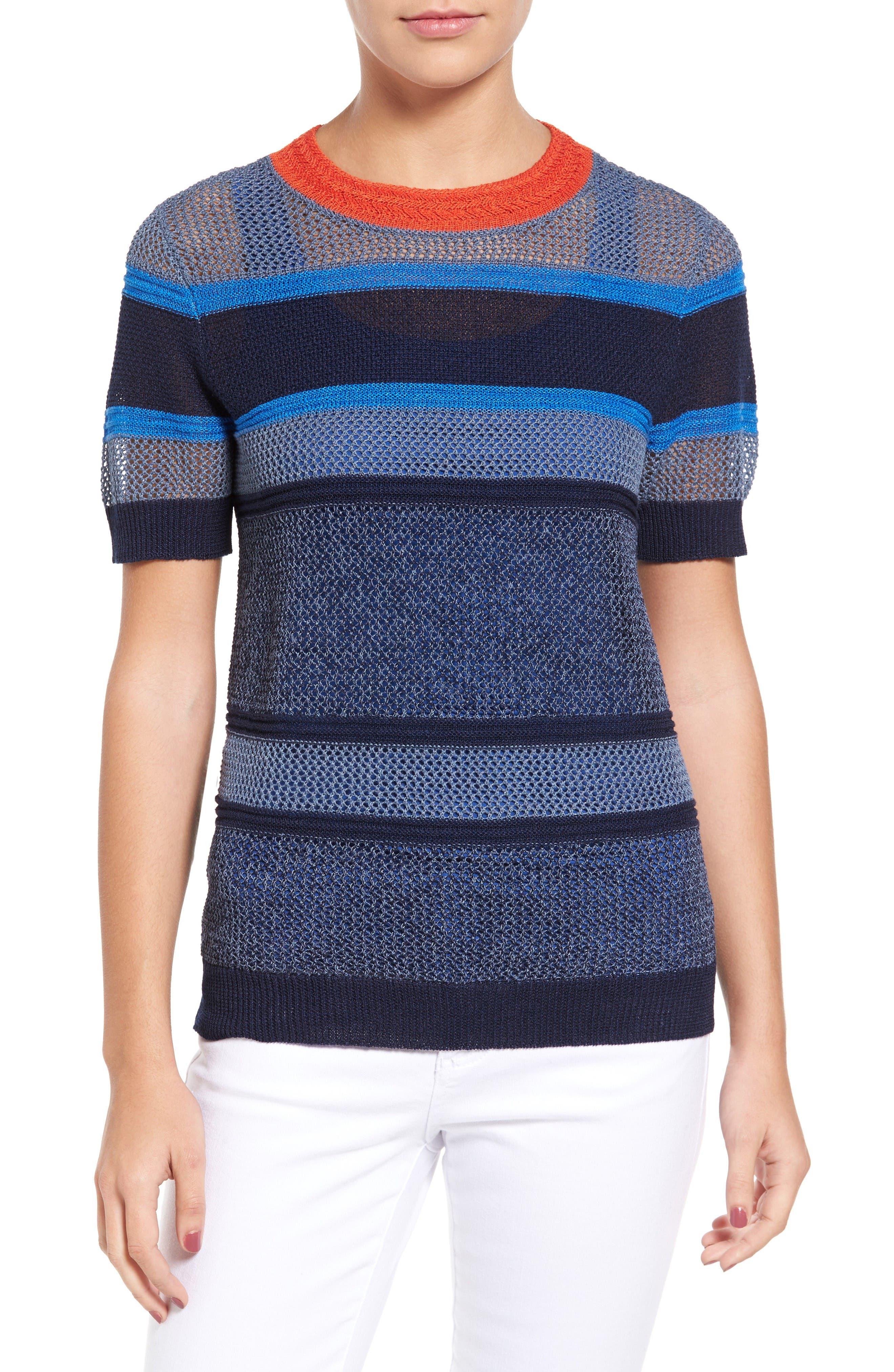 Alternate Image 1 Selected - Halogen® Stripe Open Stitch Sweater (Regular & Petite)