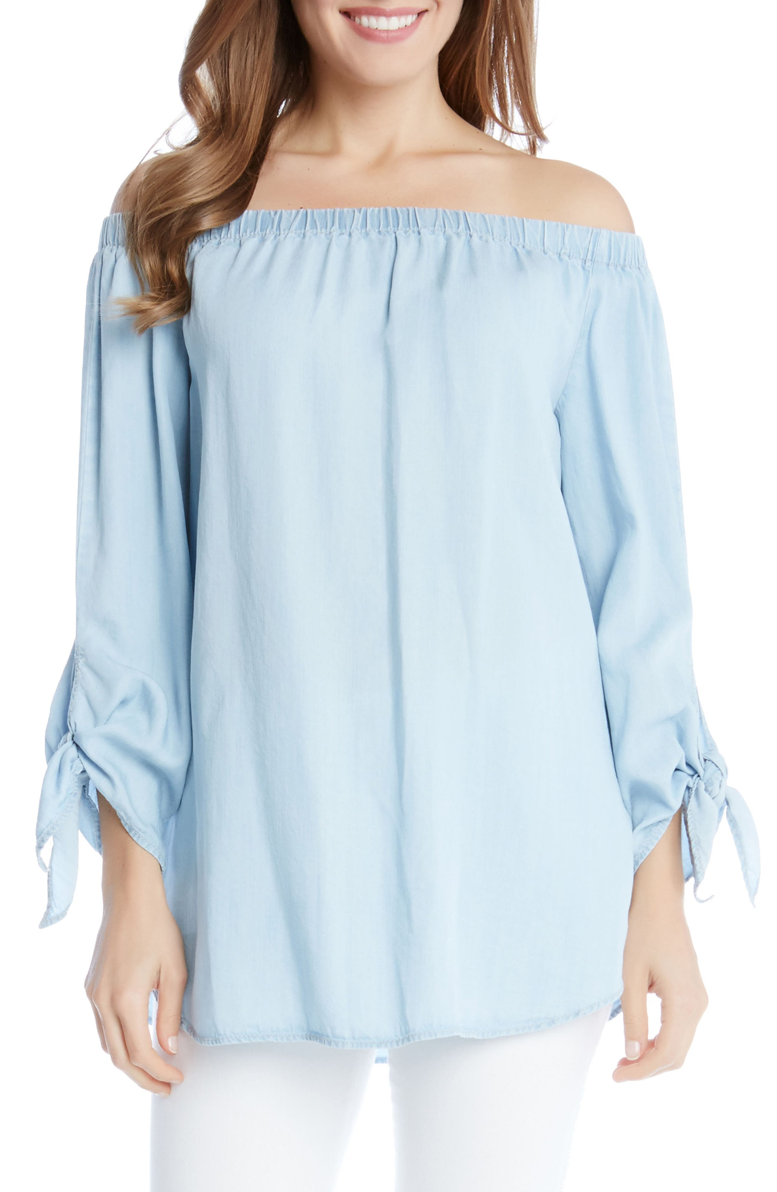 Alternate Image 1 Selected - Karen Kane Tie Sleeve Off the Shoulder Chambray Top