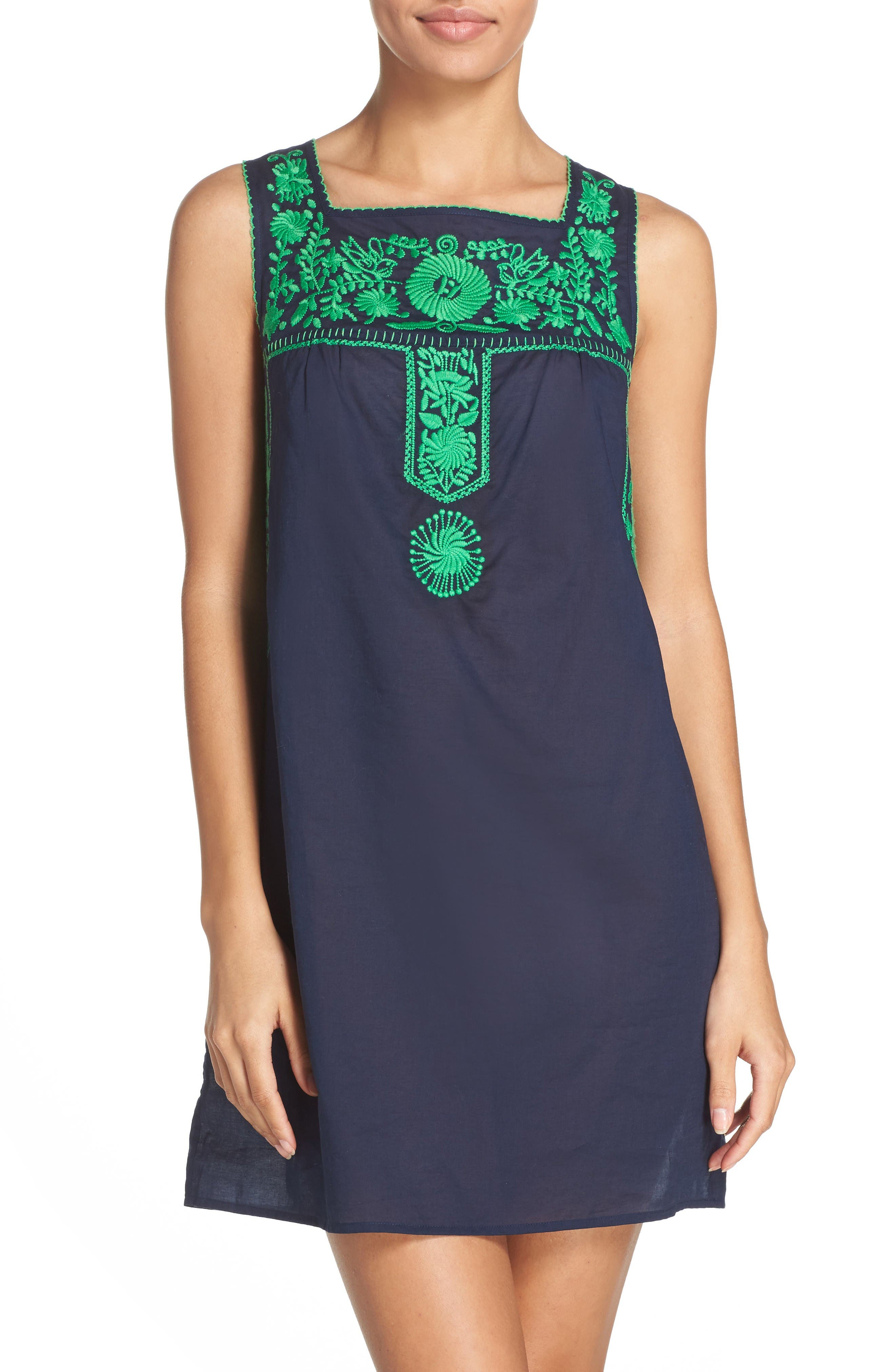 Tory Burch Amira Embroidered Cover-Up Dress