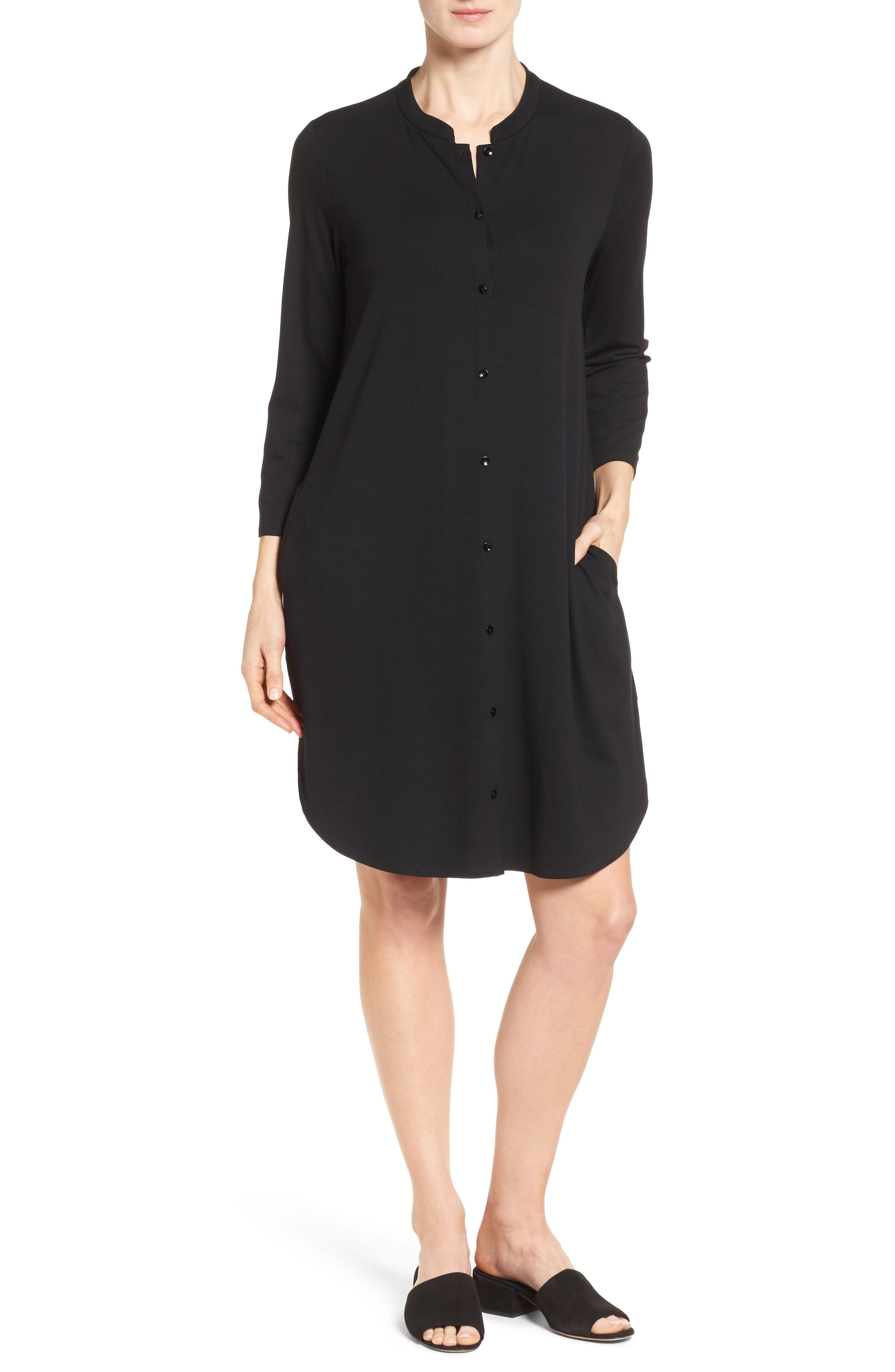 Main Image - Eileen Fisher Mandarin Collar Jersey Shirtdress (Regular & Petite)
