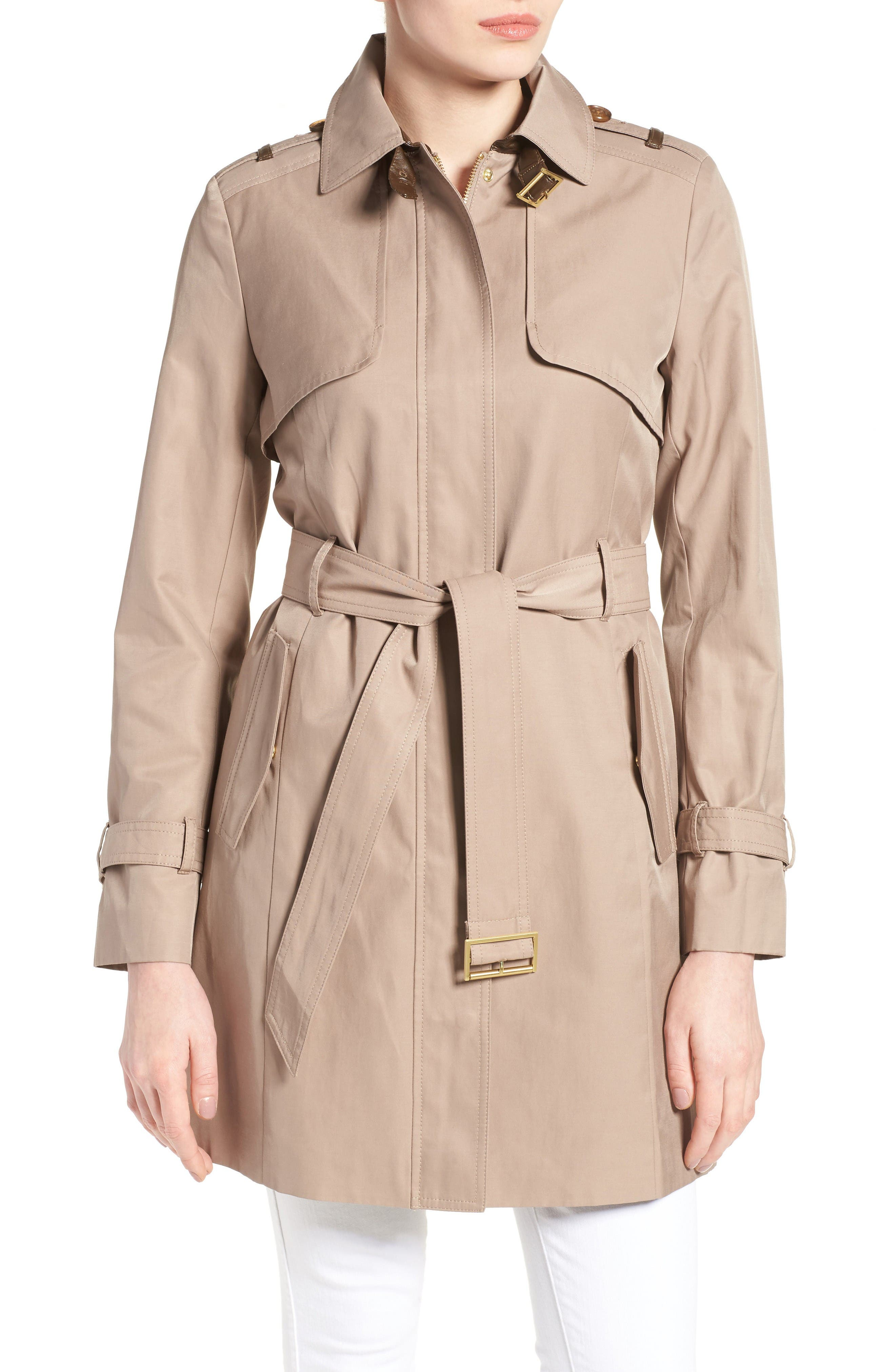 Main Image - Cole Haan Signature Faux Leather Trim Trench Coat