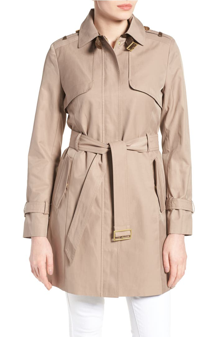 Cole Haan Signature Faux Leather Trim Trench Coat Nordstrom