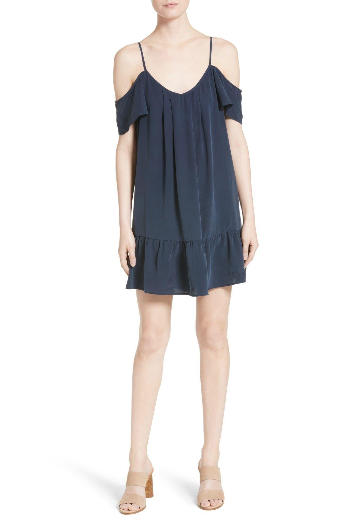 Joie Stellara Cold Shoulder Silk Dress
