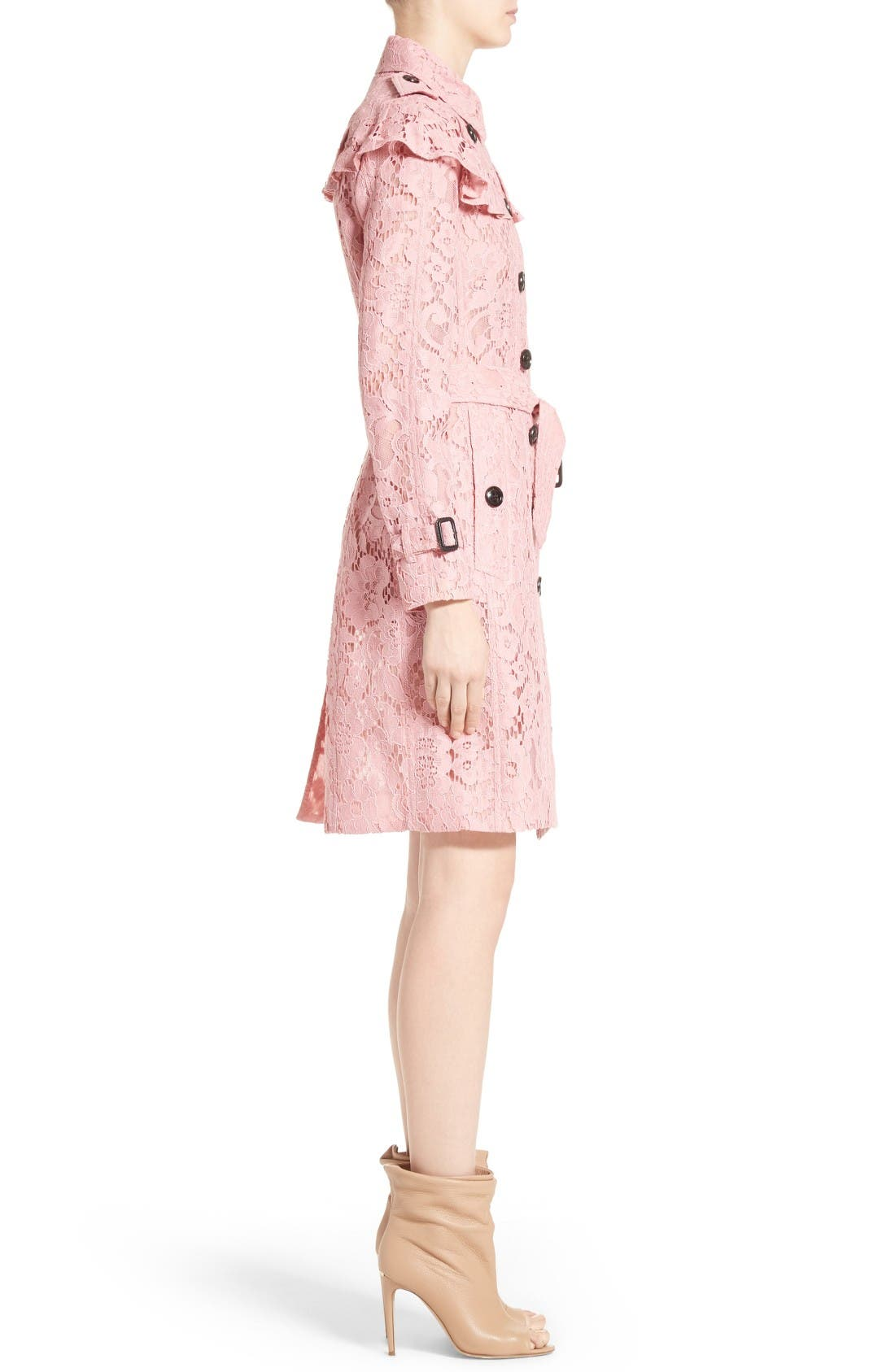 Alternate Image 5  - Burberry Stanhill Ruffle Lace Trench Coat