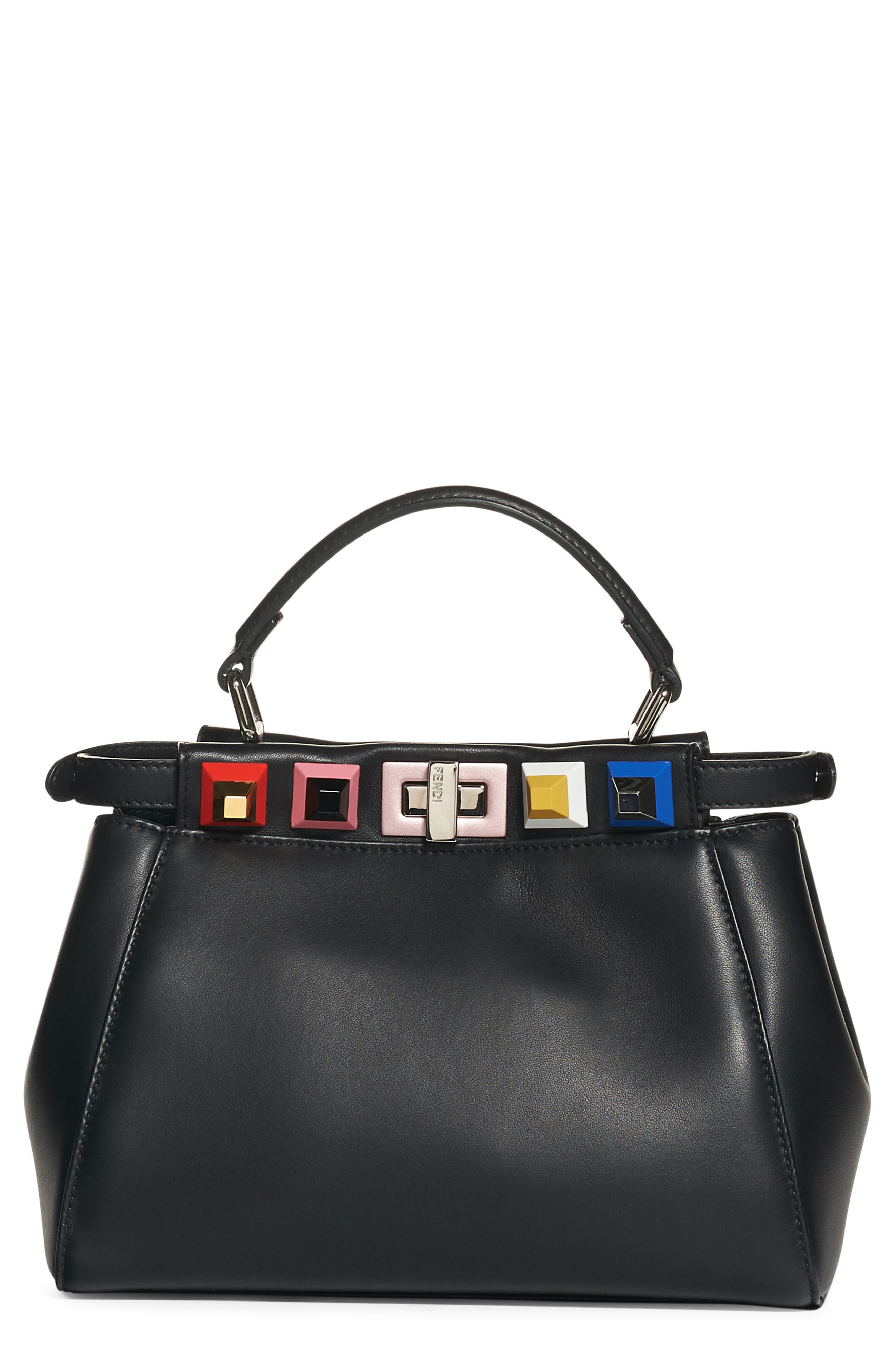 FENDI Mini Peekaboo Studded Leather Bag