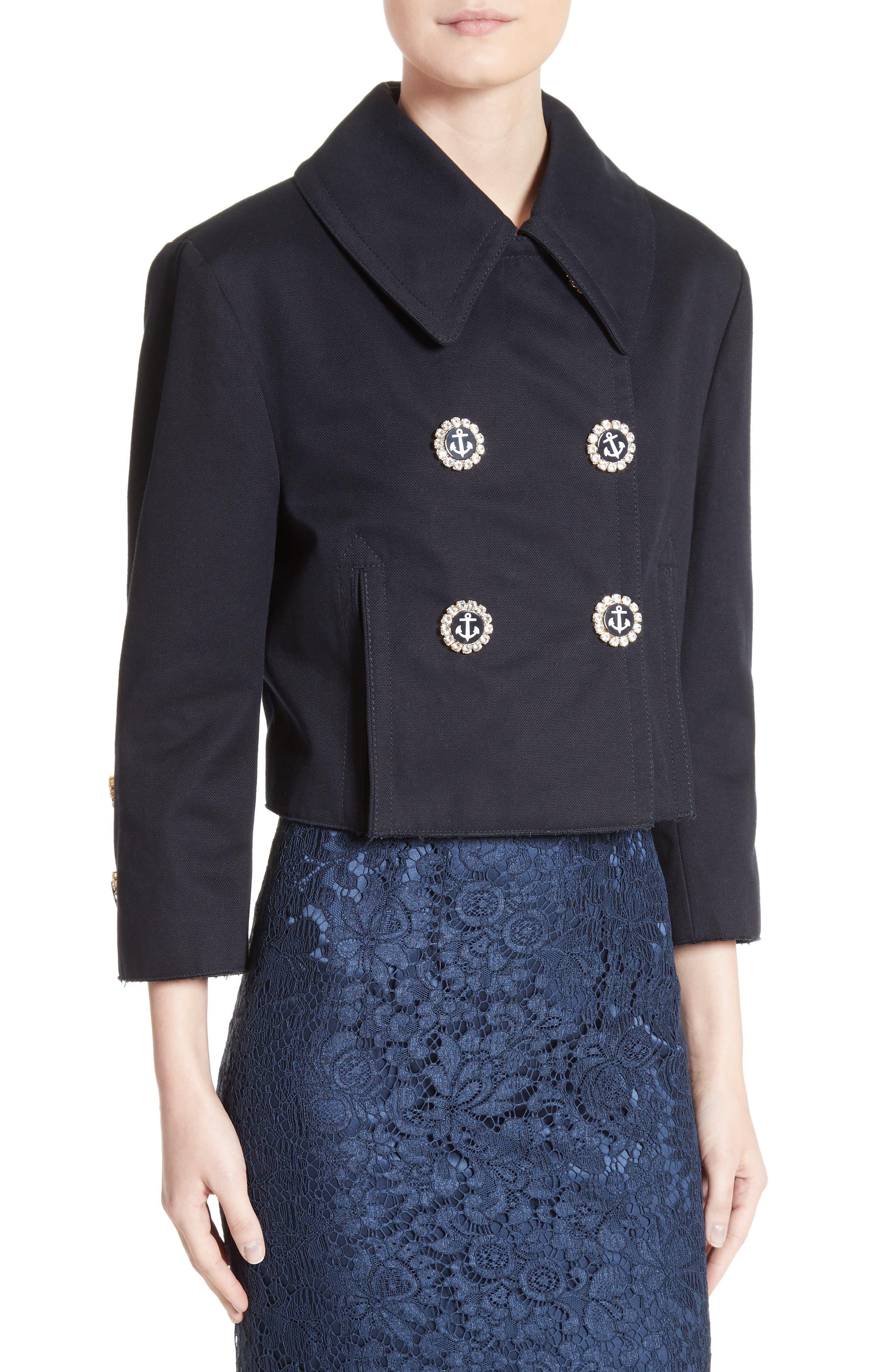 Alternate Image 5  - Dolce&Gabbana Piqué Cotton Crop Jacket