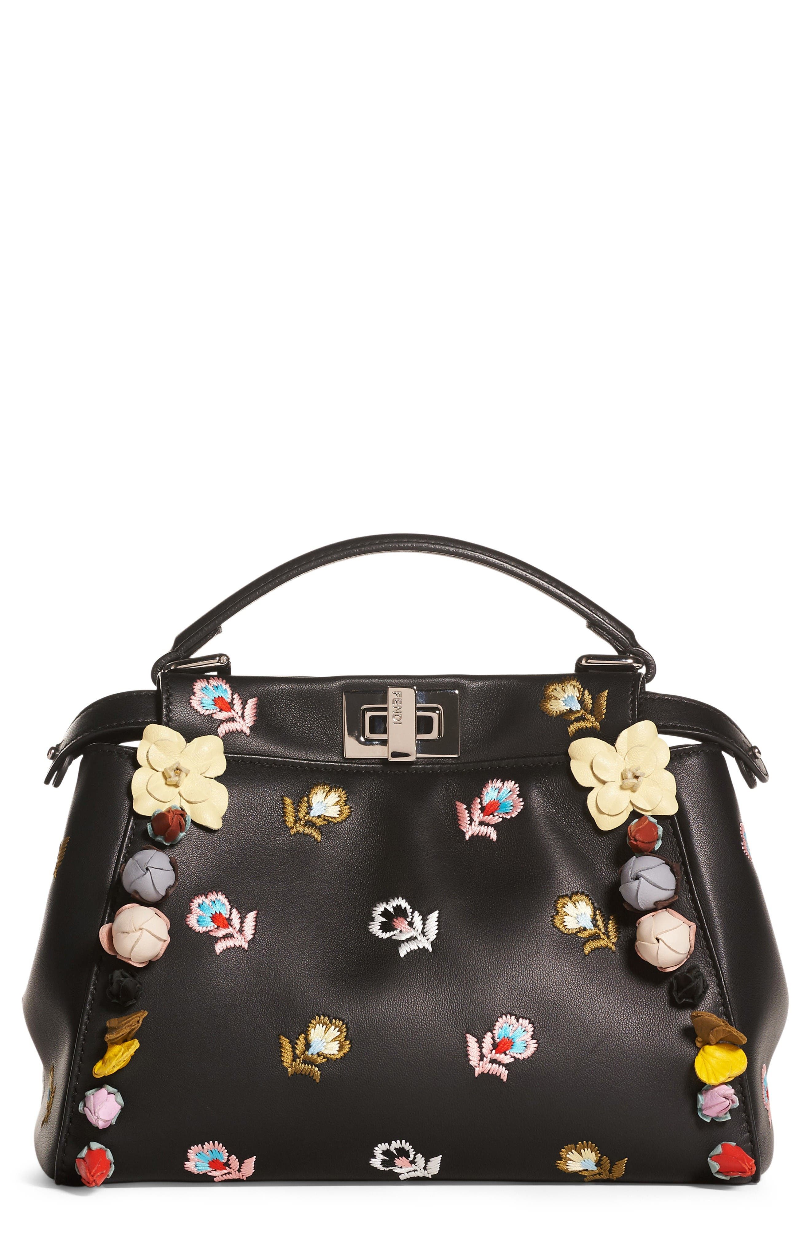 Main Image - Fendi Mini Peekaboo Floral Appliqué Leather Satchel